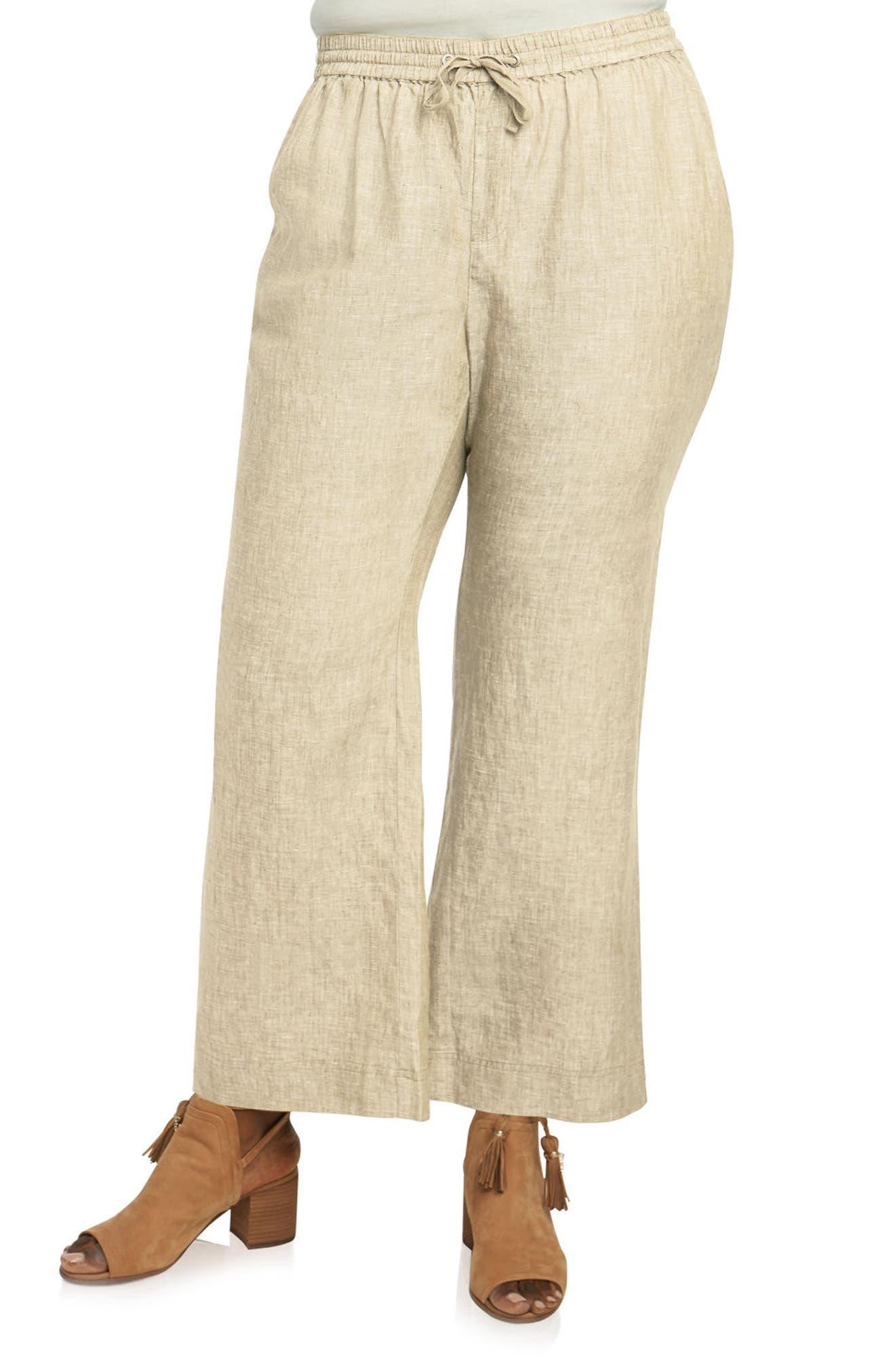 Foxcroft Shore Linen Pants (Plus Size)