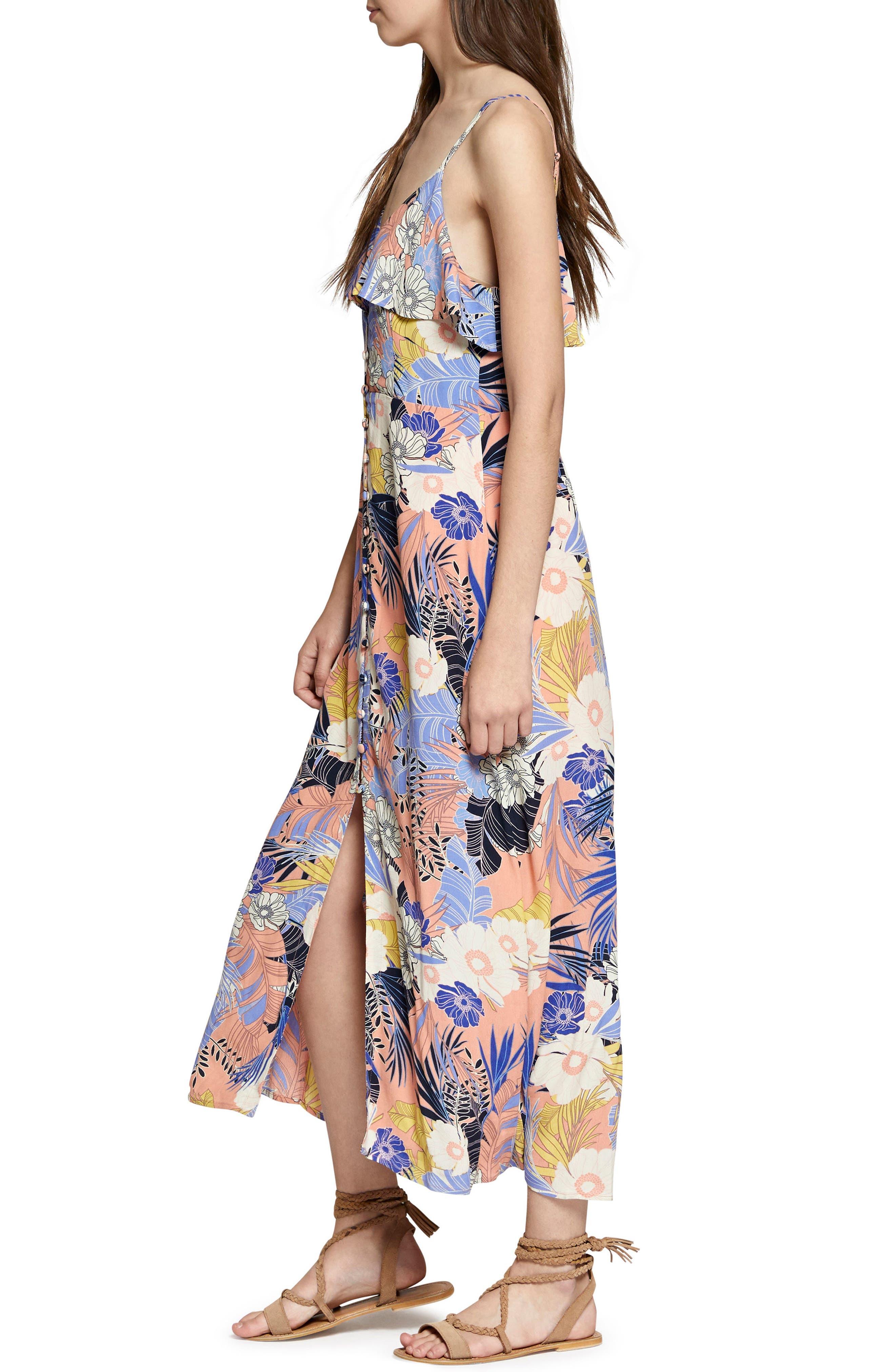 Isabella Print Maxi Dress,                             Alternate thumbnail 3, color,                             Papaya Love