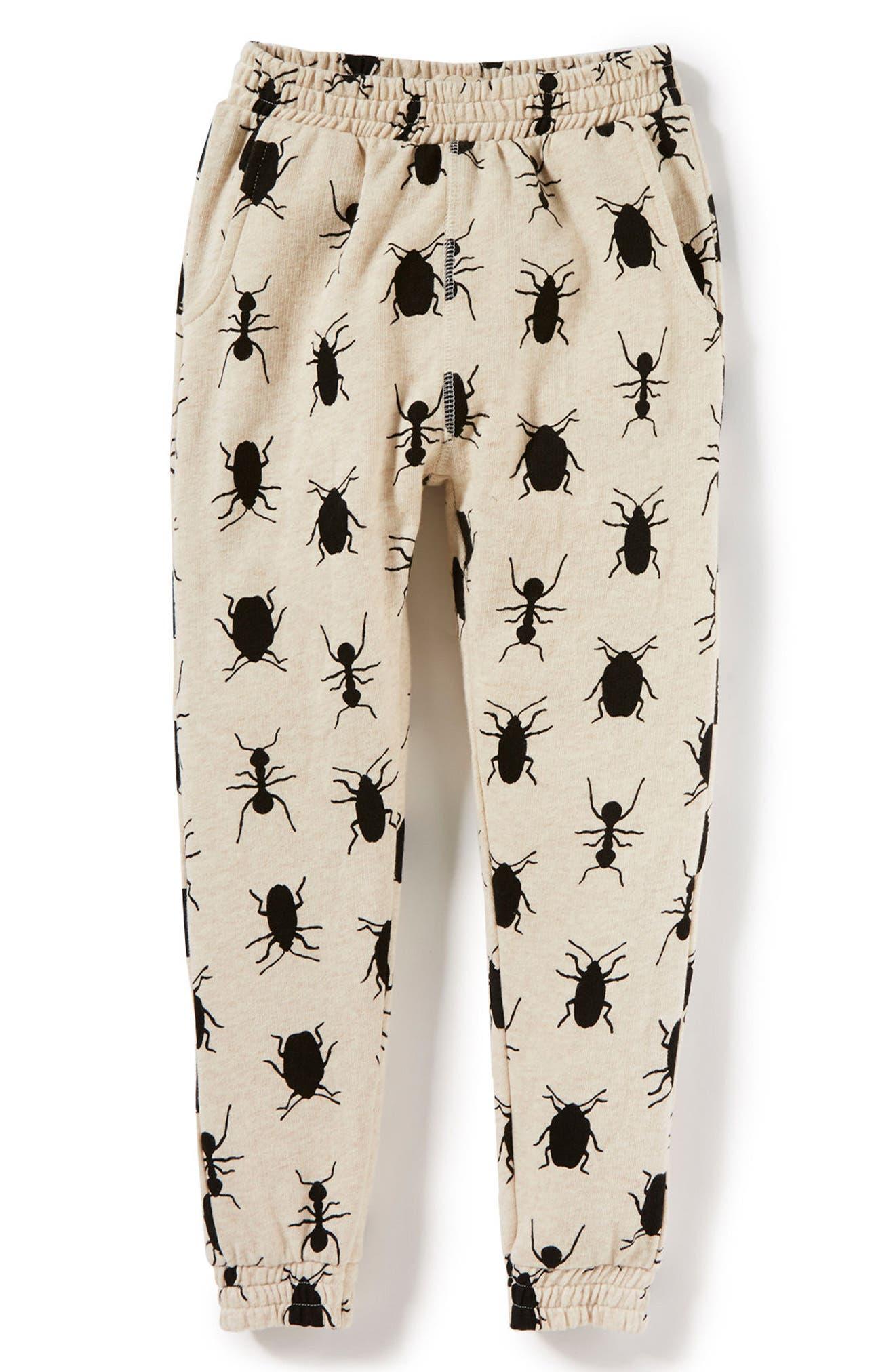 Bug Print Jogger Pants,                         Main,                         color, Oatmeal