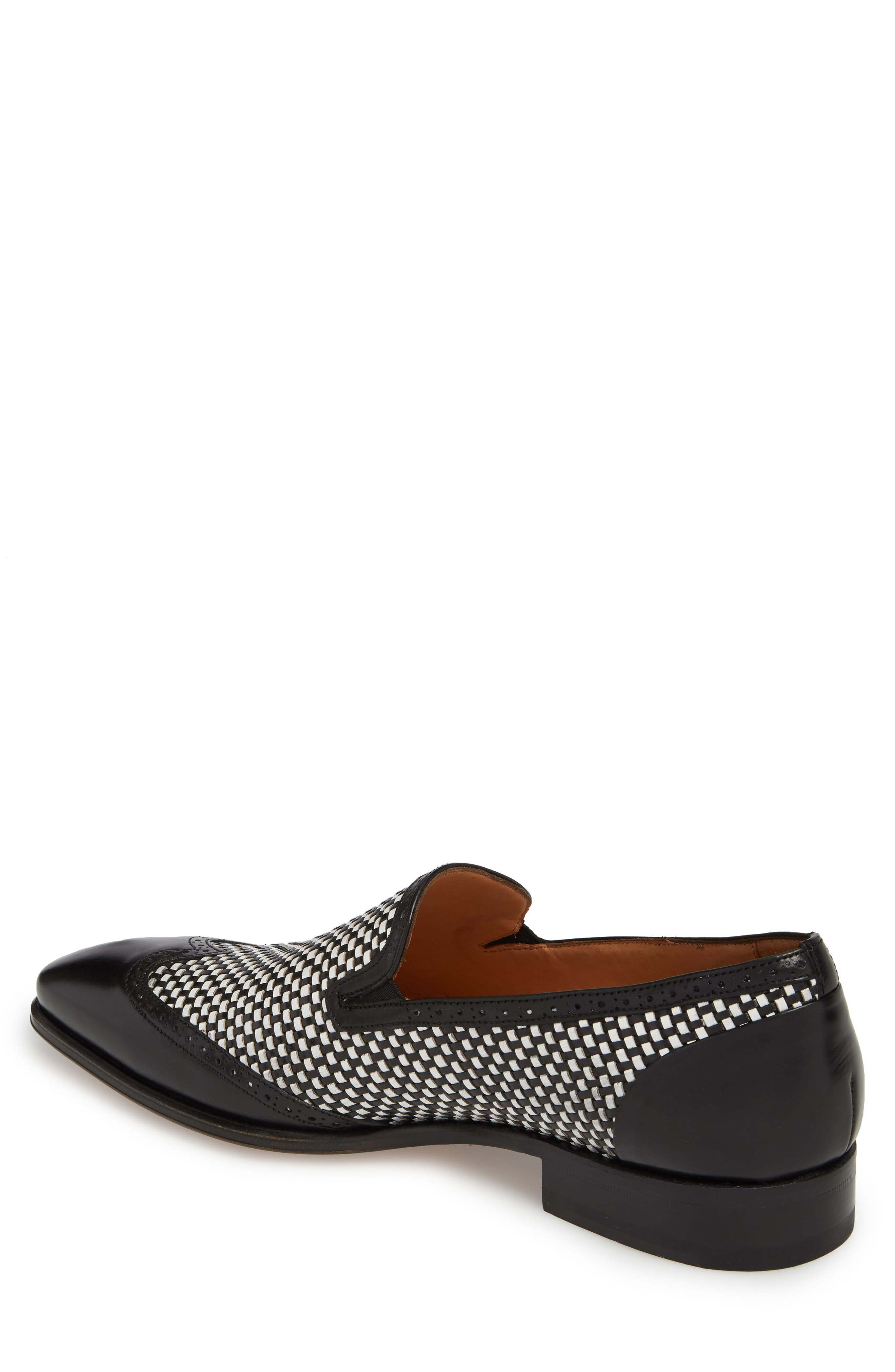 Nepos Woven Wingtip Loafer,                             Alternate thumbnail 2, color,                             Black/ White Leather