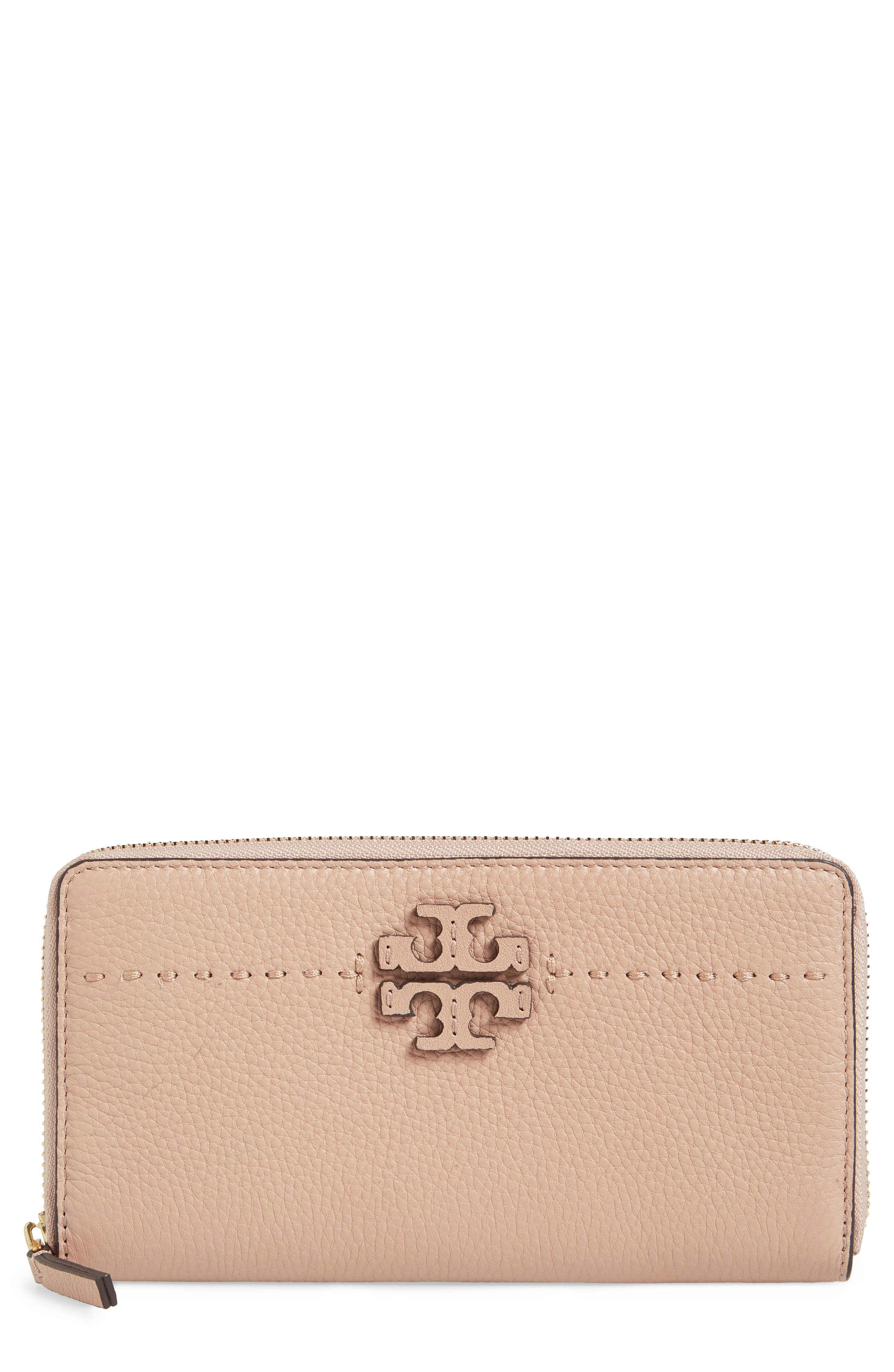 McGraw Leather Continental Zip Wallet,                             Main thumbnail 1, color,                             Devon Sand