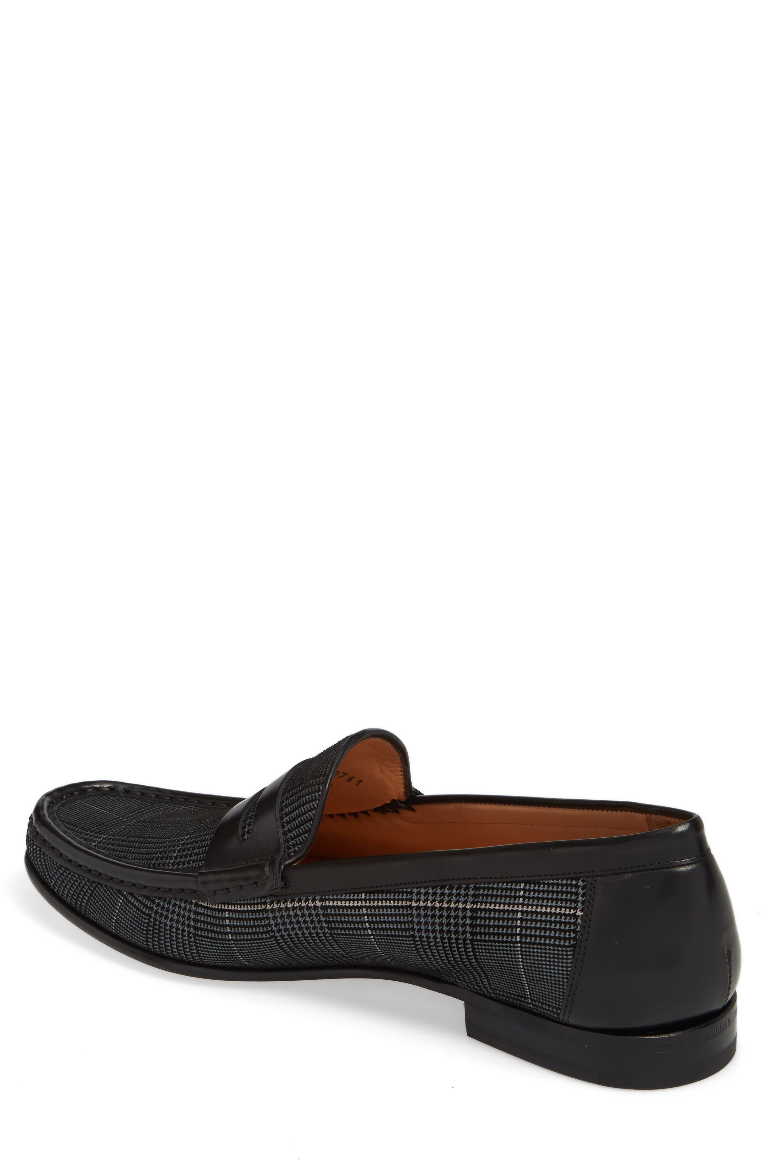 Lares I Houndstooth Penny Loafer,                             Alternate thumbnail 2, color,                             Black Suede/ Leather