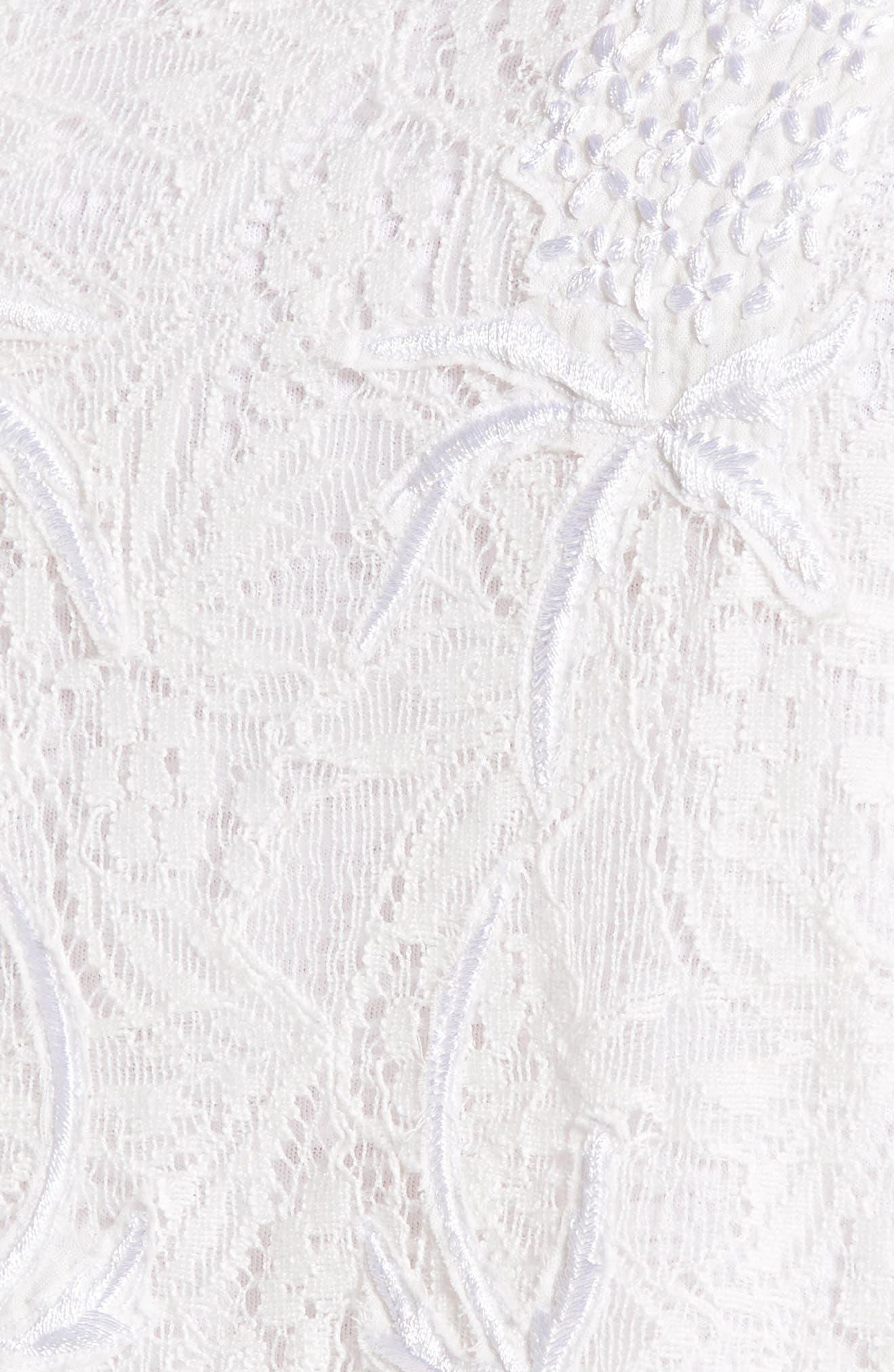 White Eyelet Scallop Mix Media Top,                             Alternate thumbnail 6, color,                             Lucky White