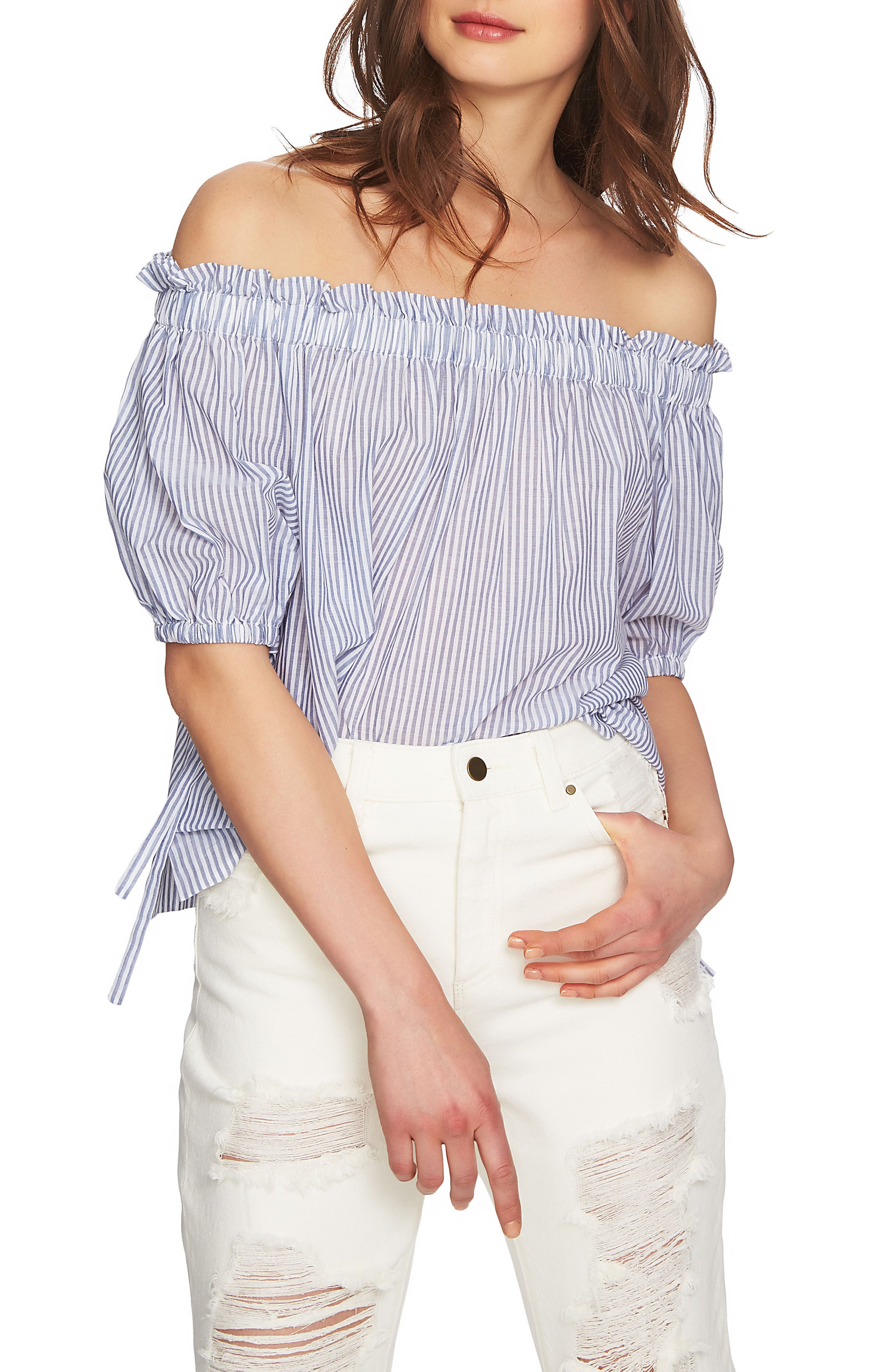 Ruffle Off the Shoulder Blouse,                         Main,                         color, Harbor Light