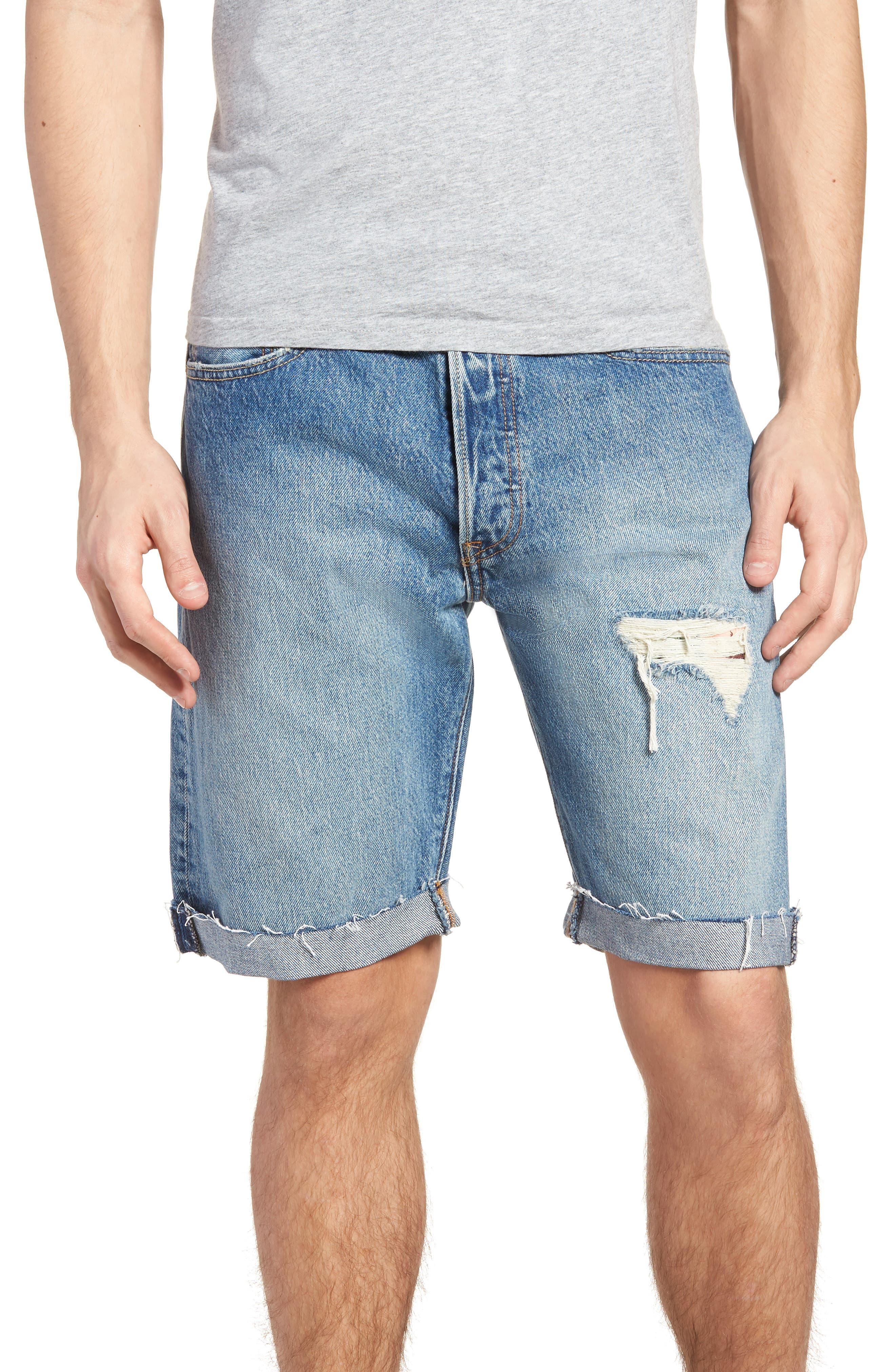 501<sup>®</sup> Cutoff Denim Shorts,                             Main thumbnail 1, color,                             Kauai Dx