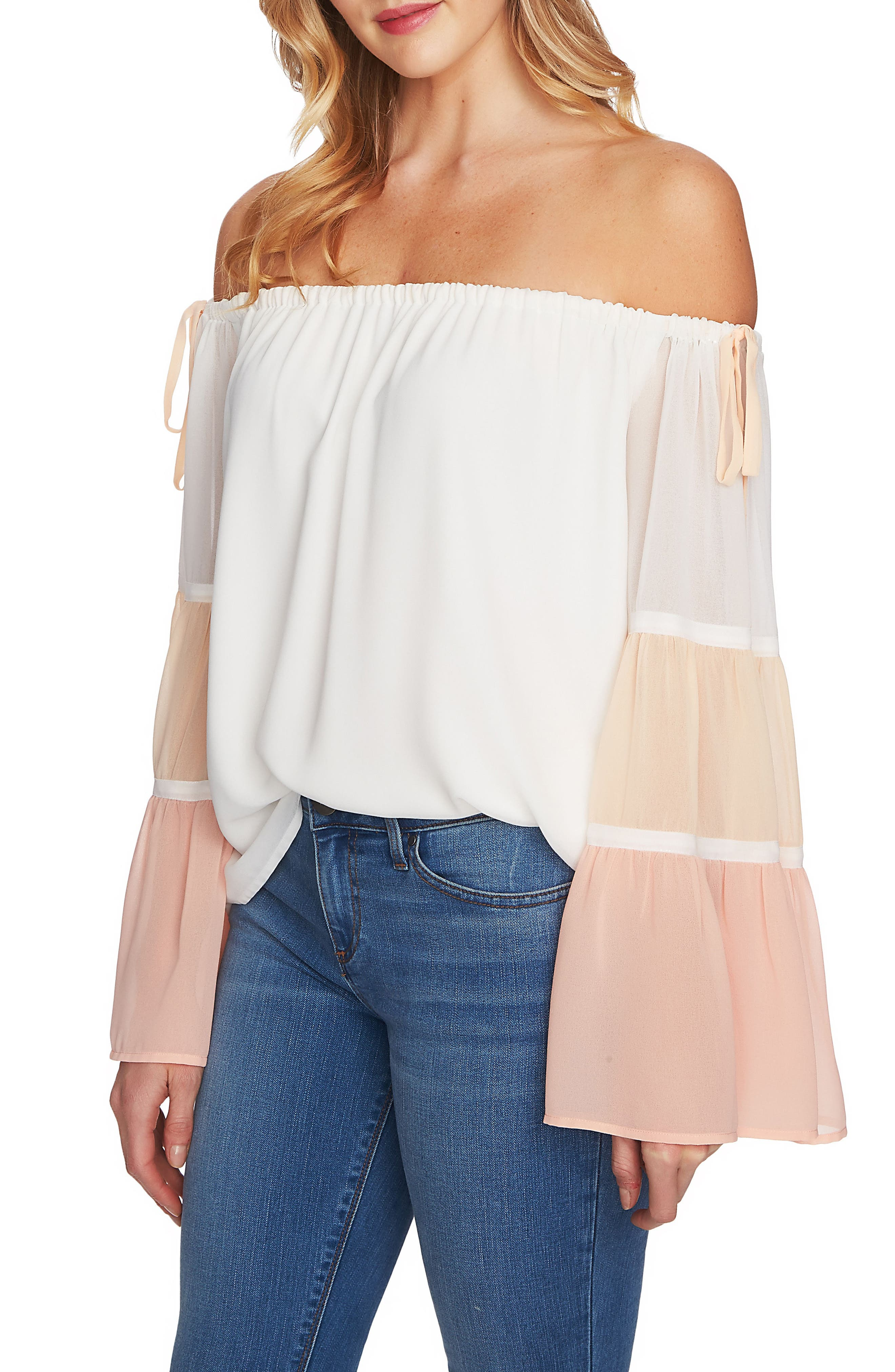 Tiered Off the Shoulder Top,                             Alternate thumbnail 3, color,                             Antique White