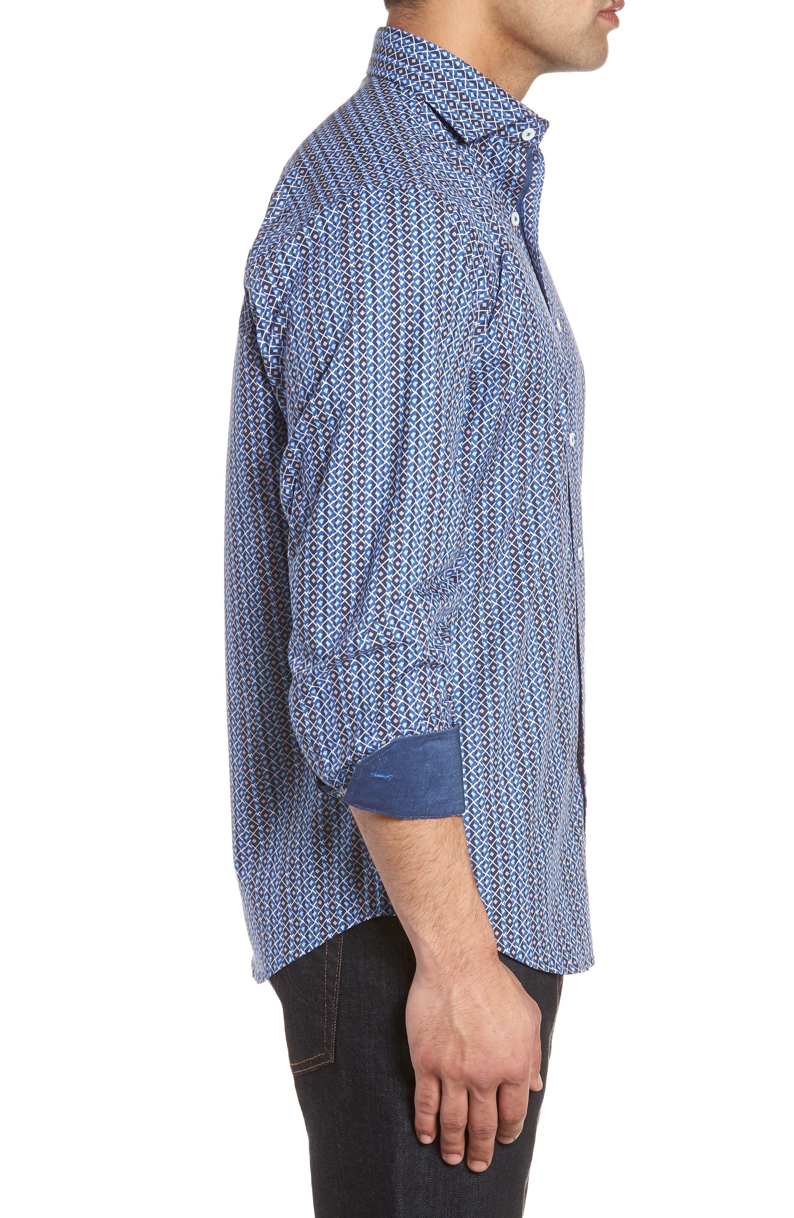 Classic Fit Print Sport Shirt,                             Alternate thumbnail 3, color,                             Classic Blue