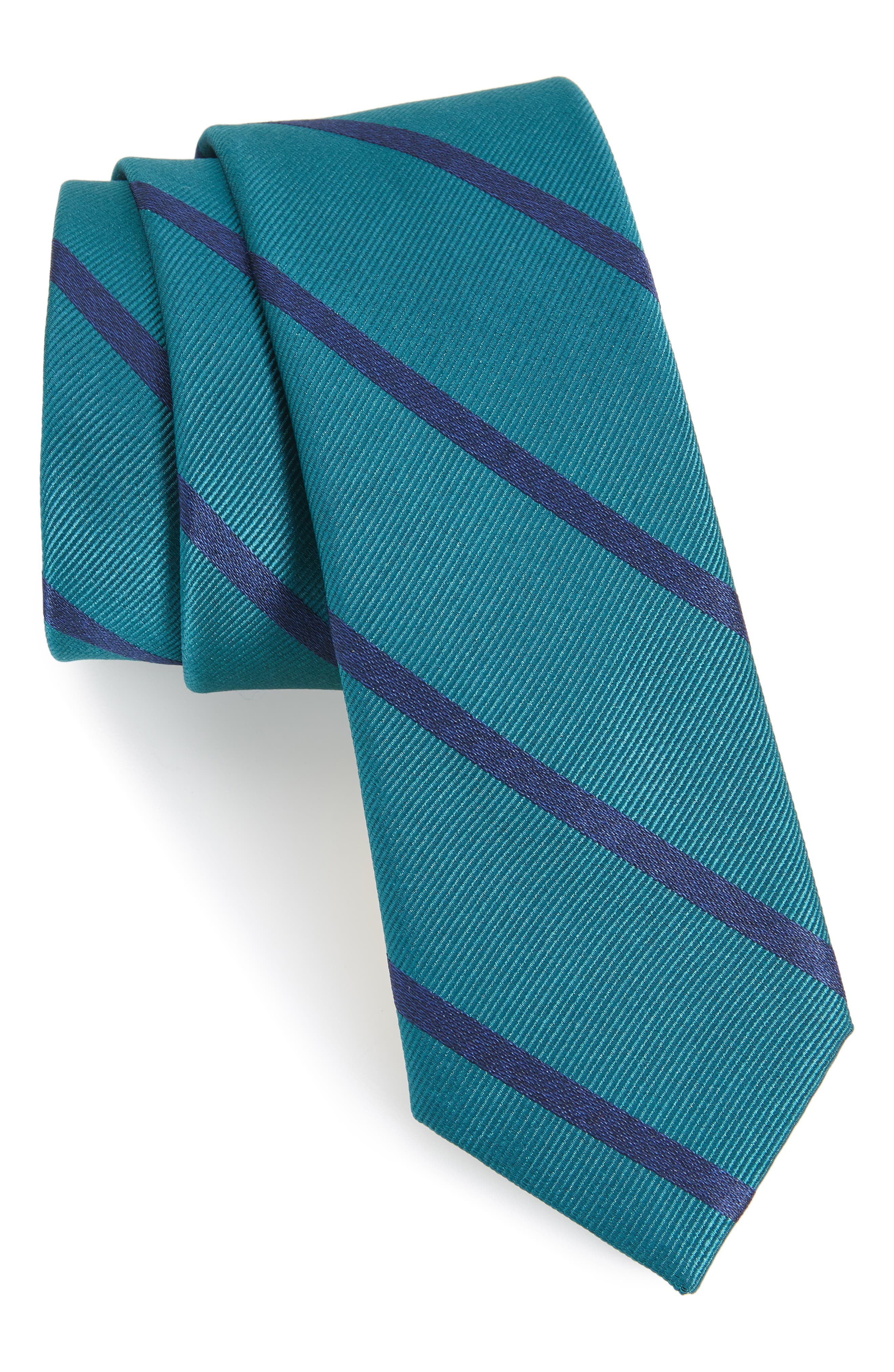 Wheelhouse Stripe Silk Skinny Tie,                             Main thumbnail 1, color,                             Teal