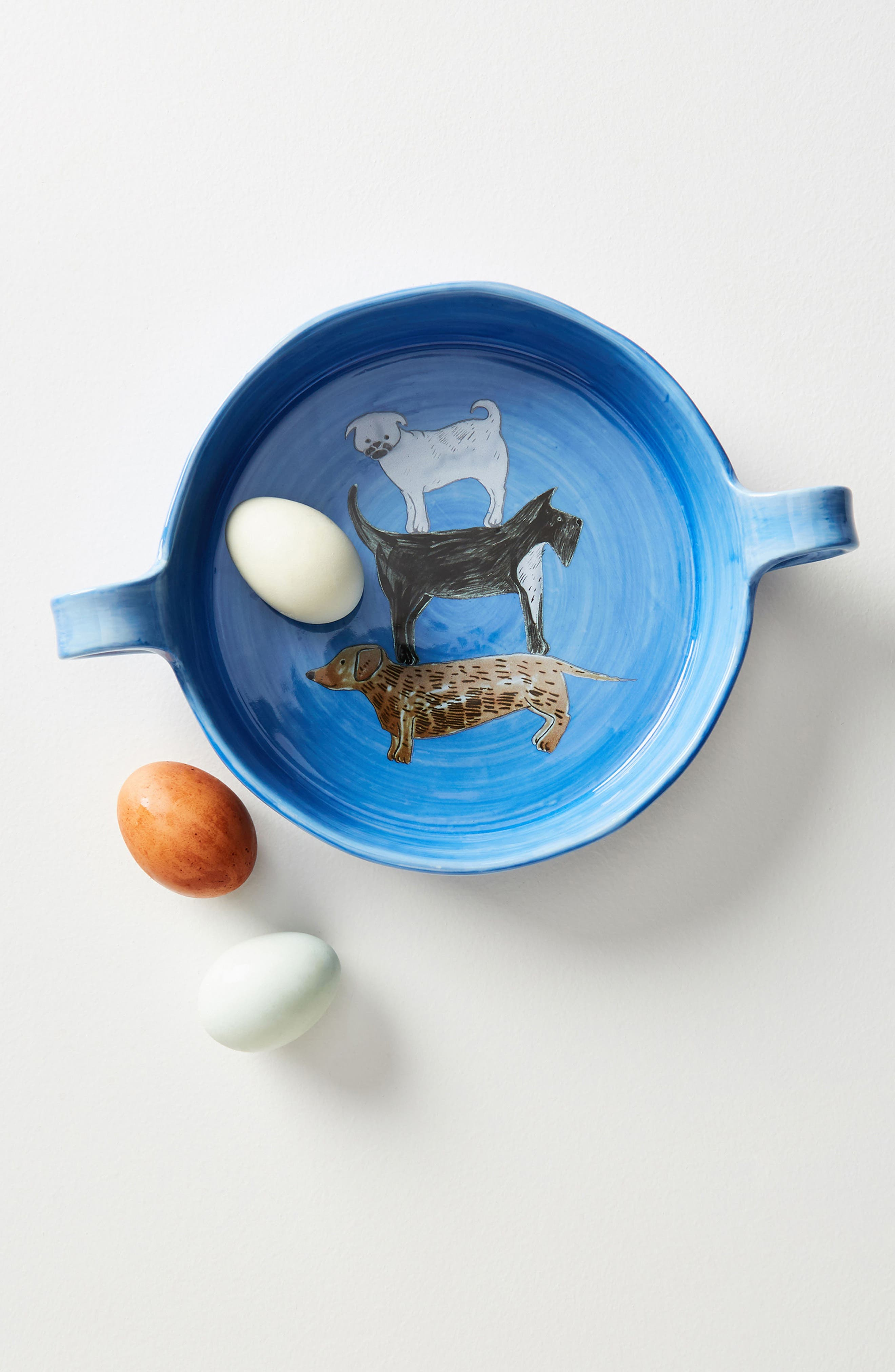 Painted Pup Stoneware Pie Dish,                         Main,                         color, Blue