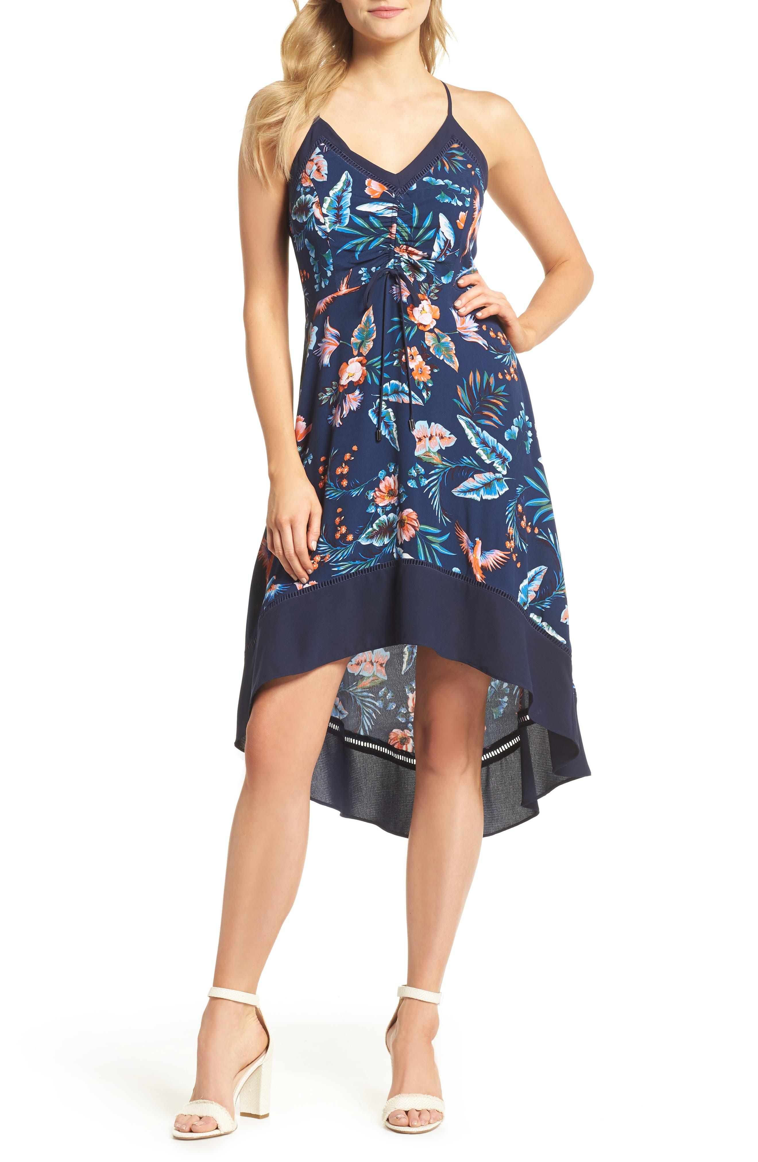 Gianna High/Low Hem Sundress,                             Main thumbnail 1, color,                             Navy Multi