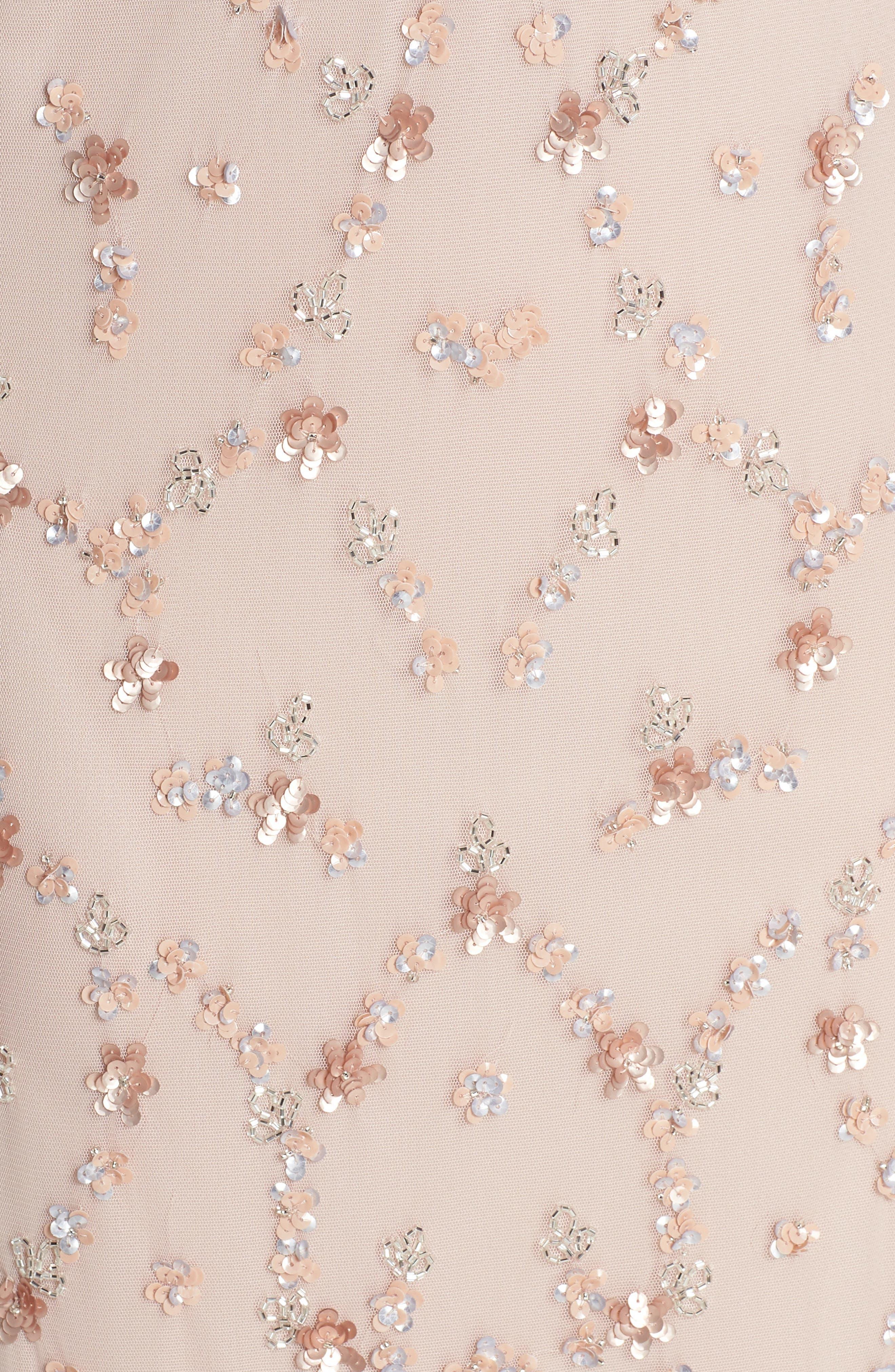 Embellished Mesh Popover Gown,                             Alternate thumbnail 5, color,                             Blush