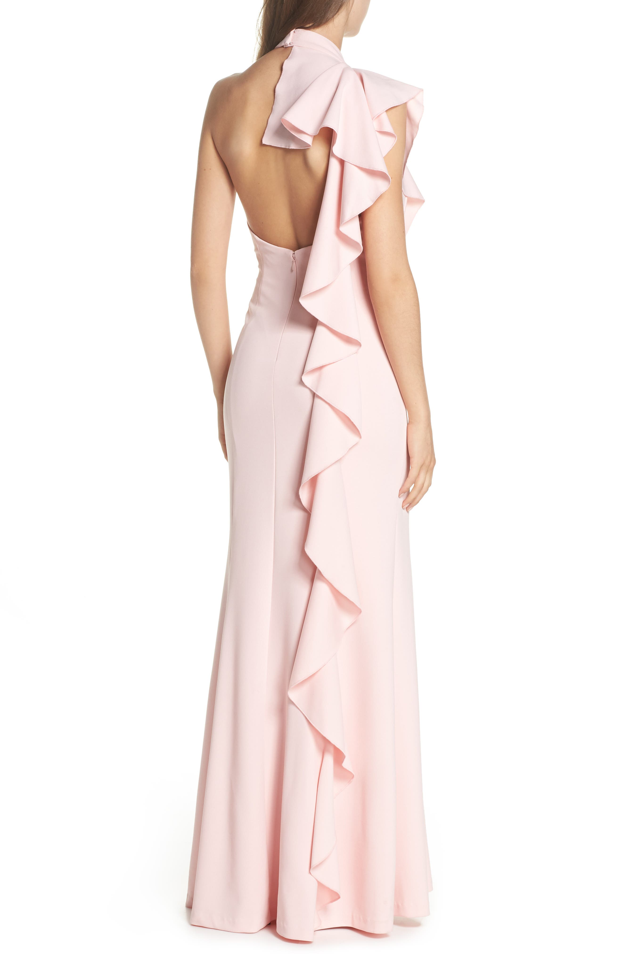 Ruffle Back Halter Gown,                             Alternate thumbnail 2, color,                             Pale Shell
