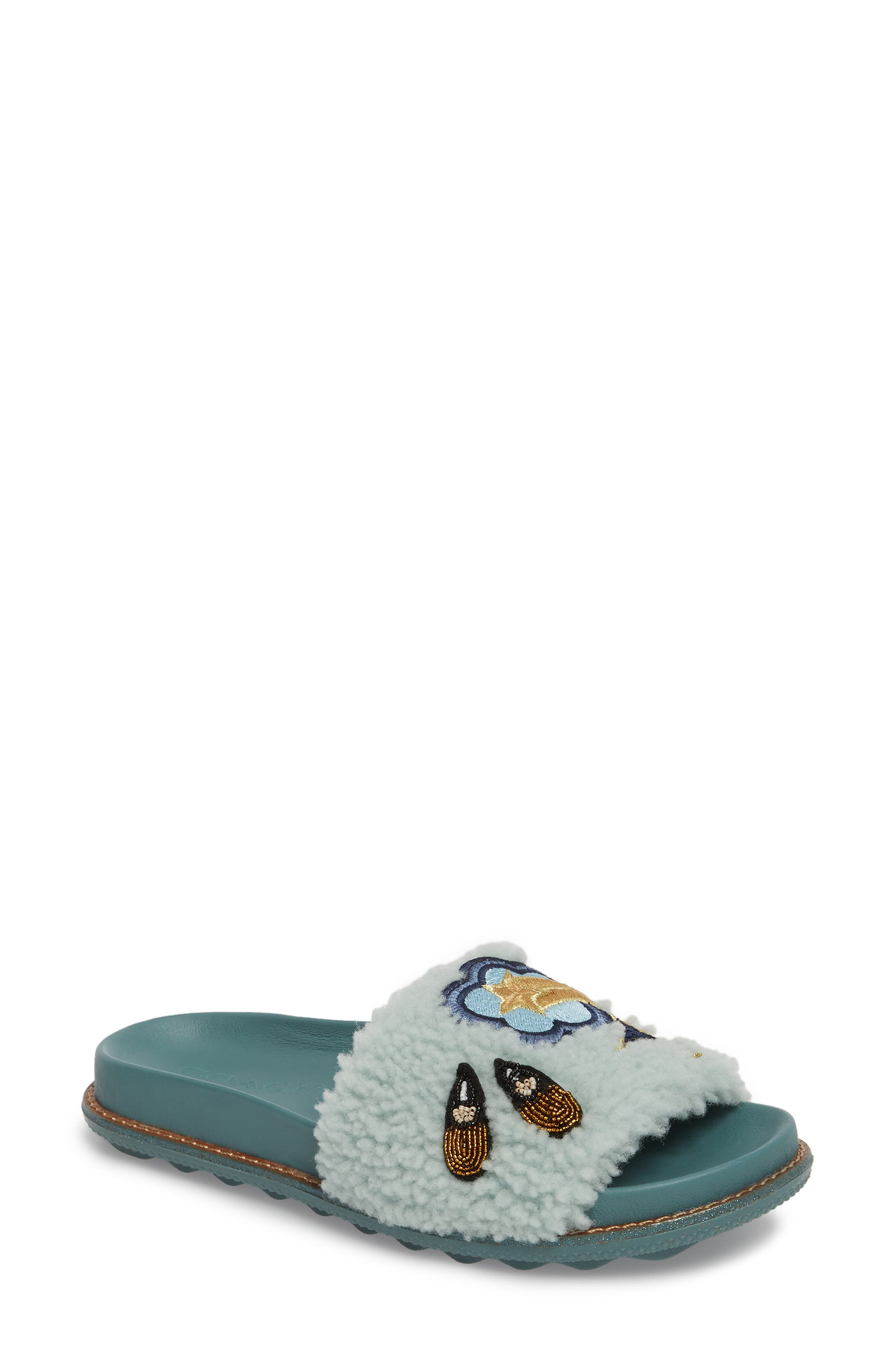 COACH Patch Genuine Shearling Slide Sandal (Women)