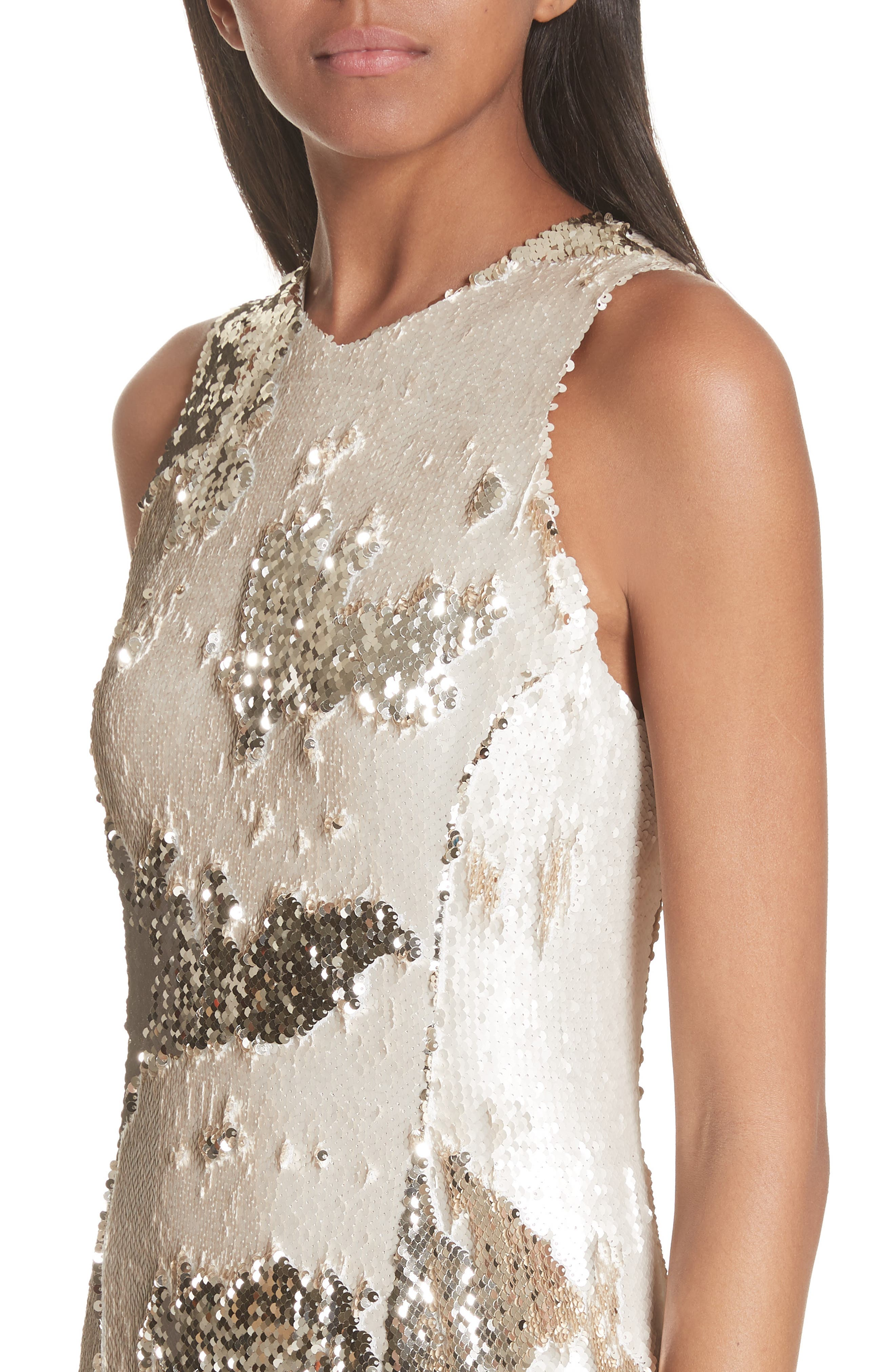 Sequin Column Gown,                             Alternate thumbnail 4, color,                             Nude Light Gold