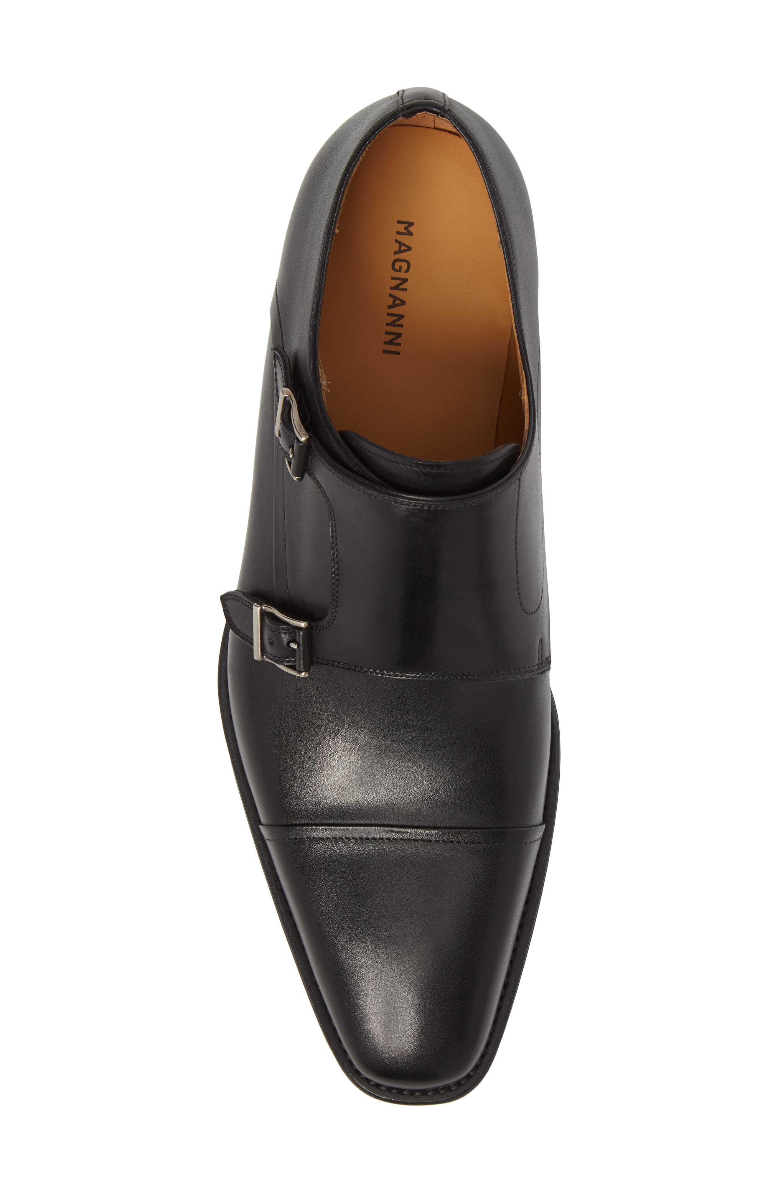 Silvio Double Monk Strap Shoe,                             Alternate thumbnail 5, color,                             Black Leather