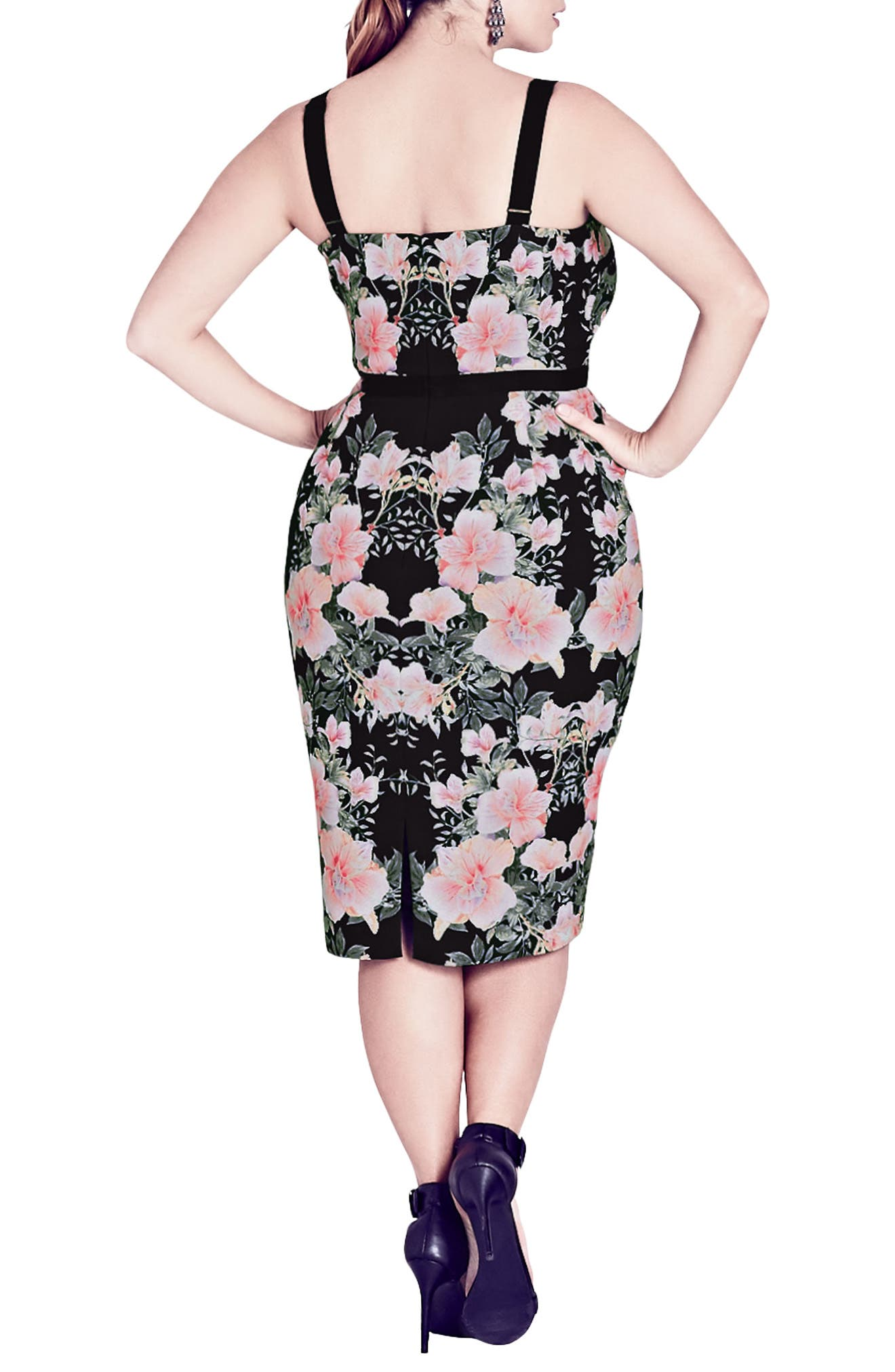 Impressions Floral Body-Con Dress,                             Alternate thumbnail 2, color,                             Black