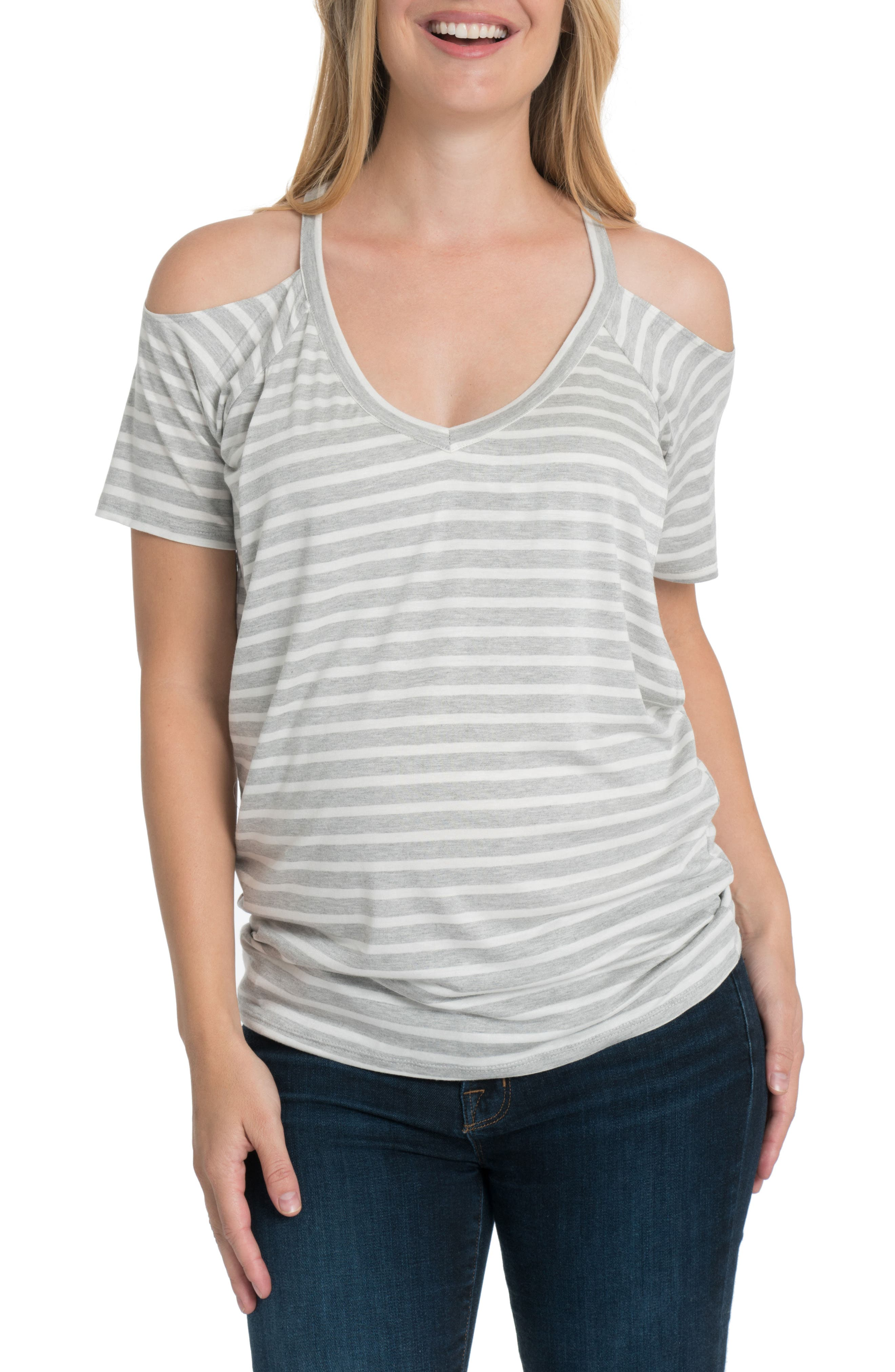 Bliss Cold Shoulder Maternity/Nursing Tee,                             Main thumbnail 1, color,                             Gray And White Stripe