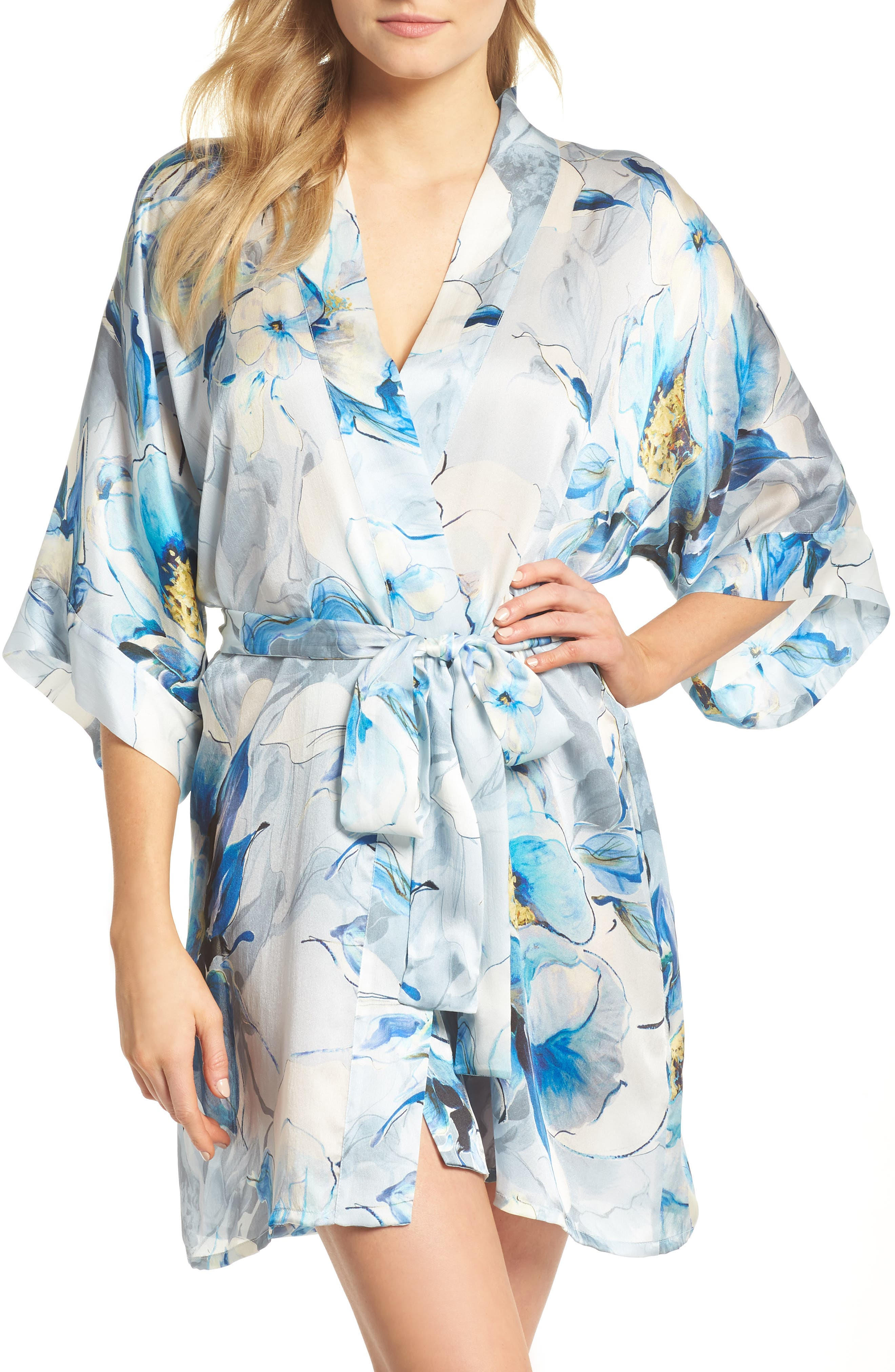 Short Silk Robe,                             Main thumbnail 1, color,                             Swept Away Print