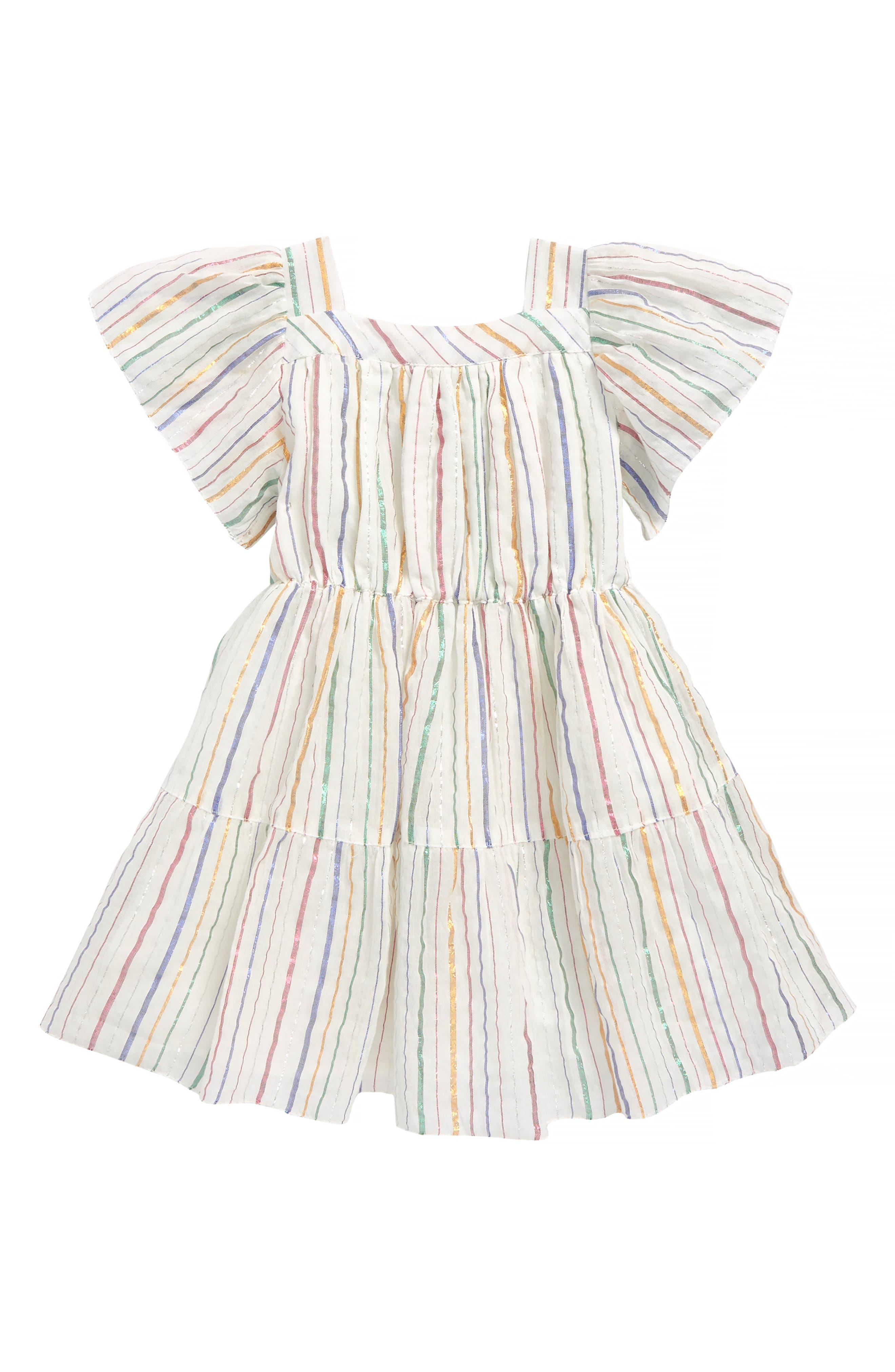 Sienna Stripe Dress,                         Main,                         color, Rose Gold