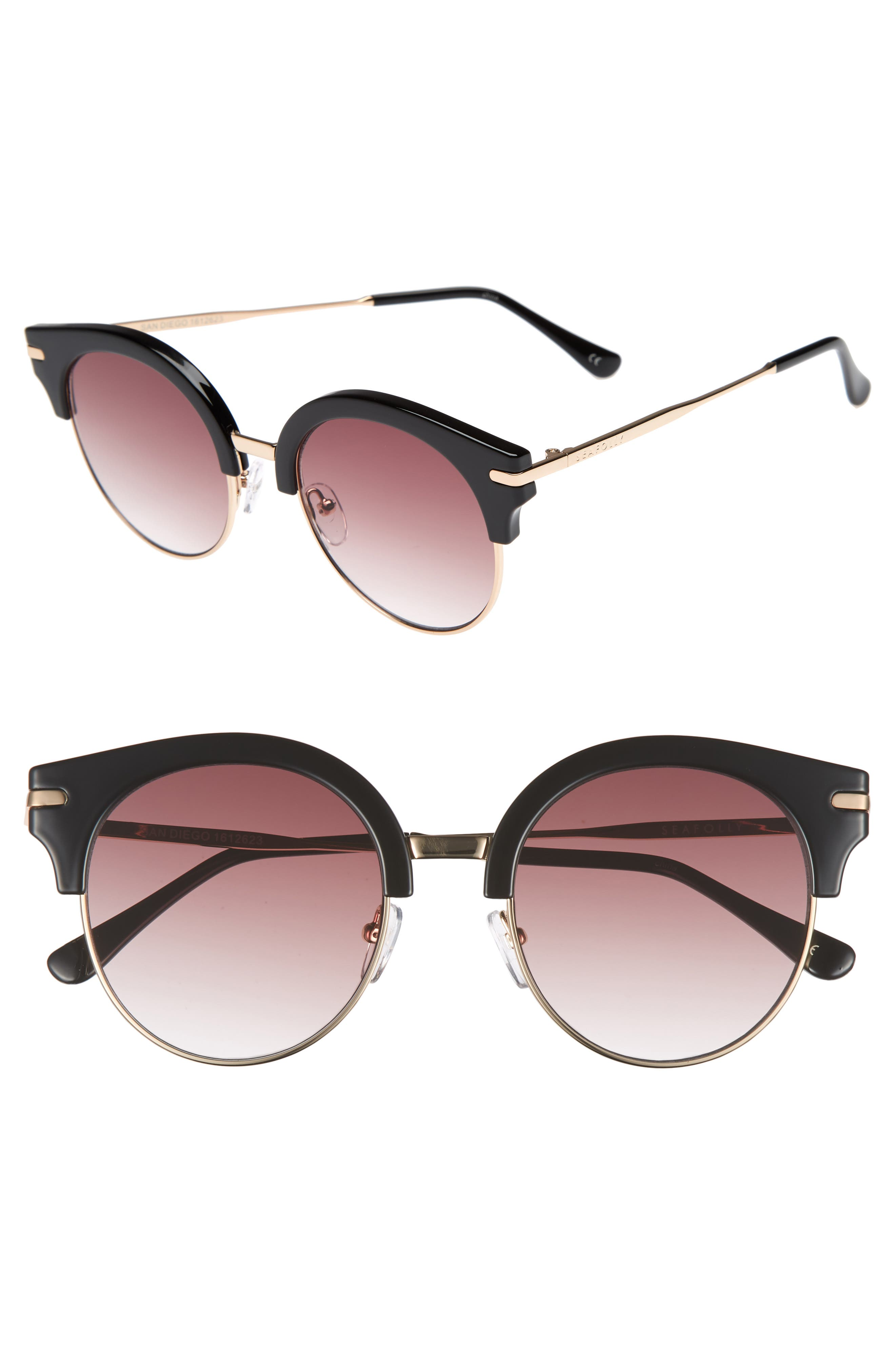 San Diego 52mm Cat Eye Sunglasses,                         Main,                         color, Black