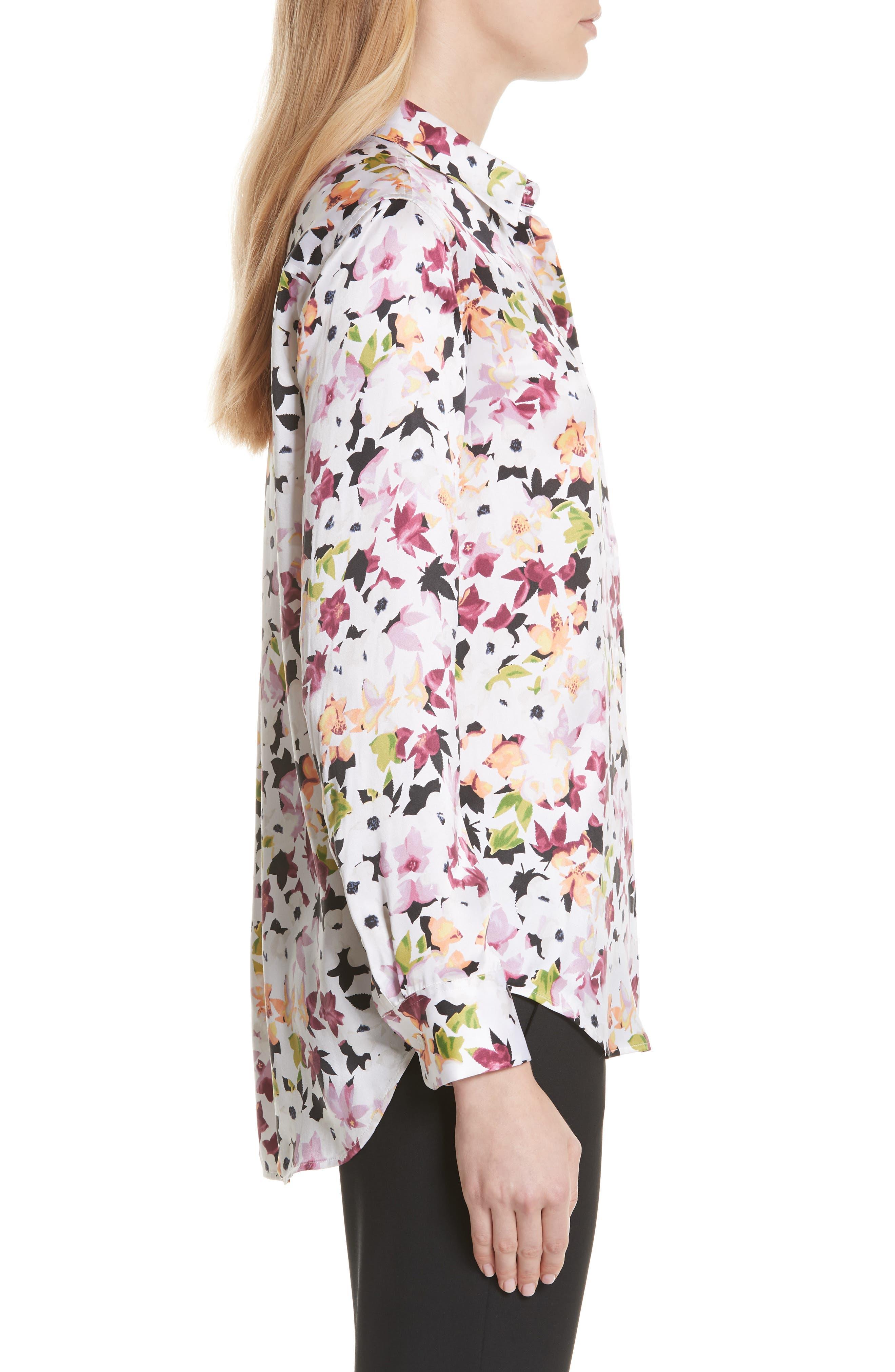 Essential Floral Silk Shirt,                             Alternate thumbnail 3, color,                             Bright White Multi