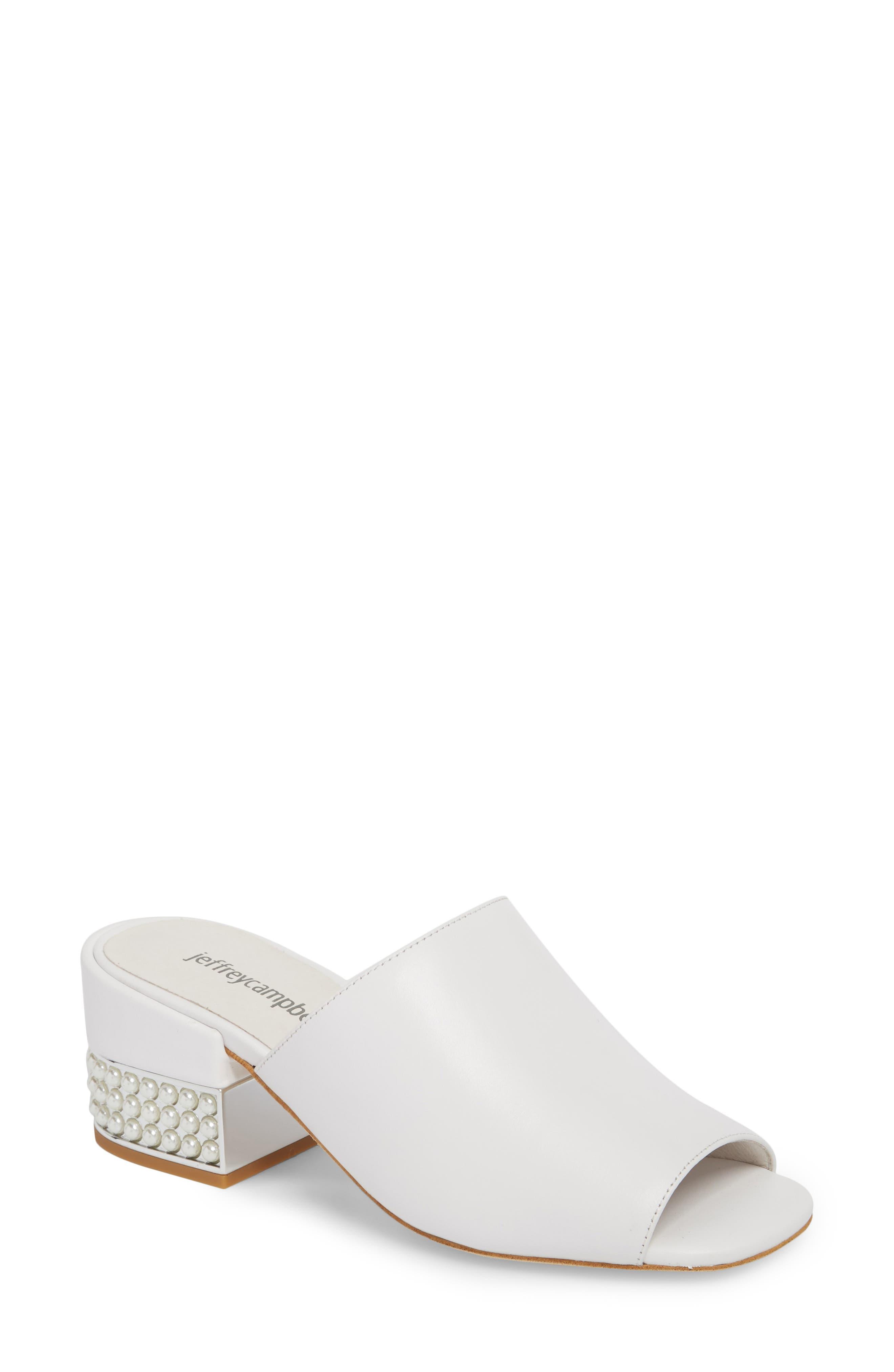Teseida Embellished Mule,                         Main,                         color, White/ Silver