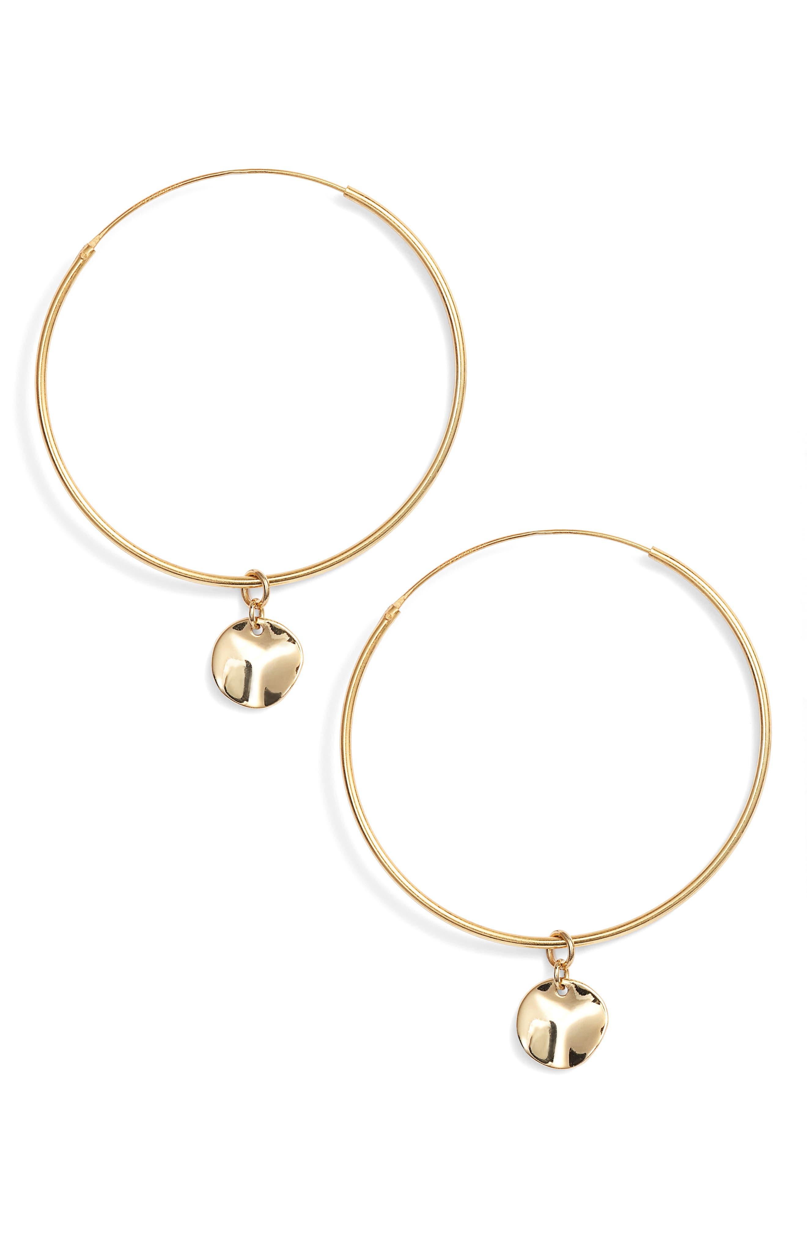 Flat Disc Drop Large Hoop Earrings,                         Main,                         color, Gold