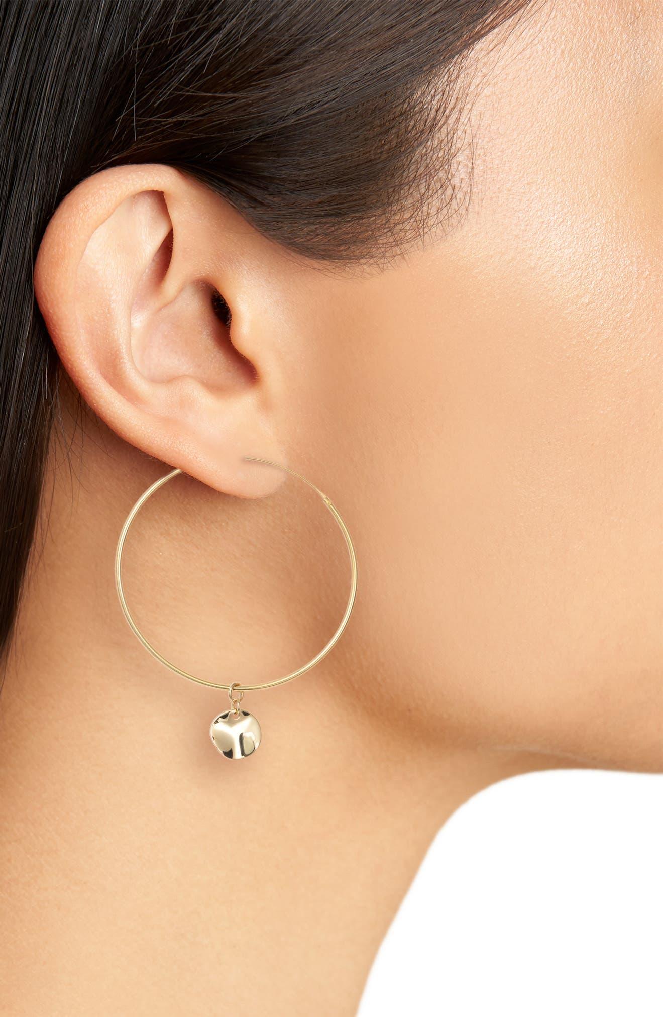 Flat Disc Drop Large Hoop Earrings,                             Alternate thumbnail 2, color,                             Gold