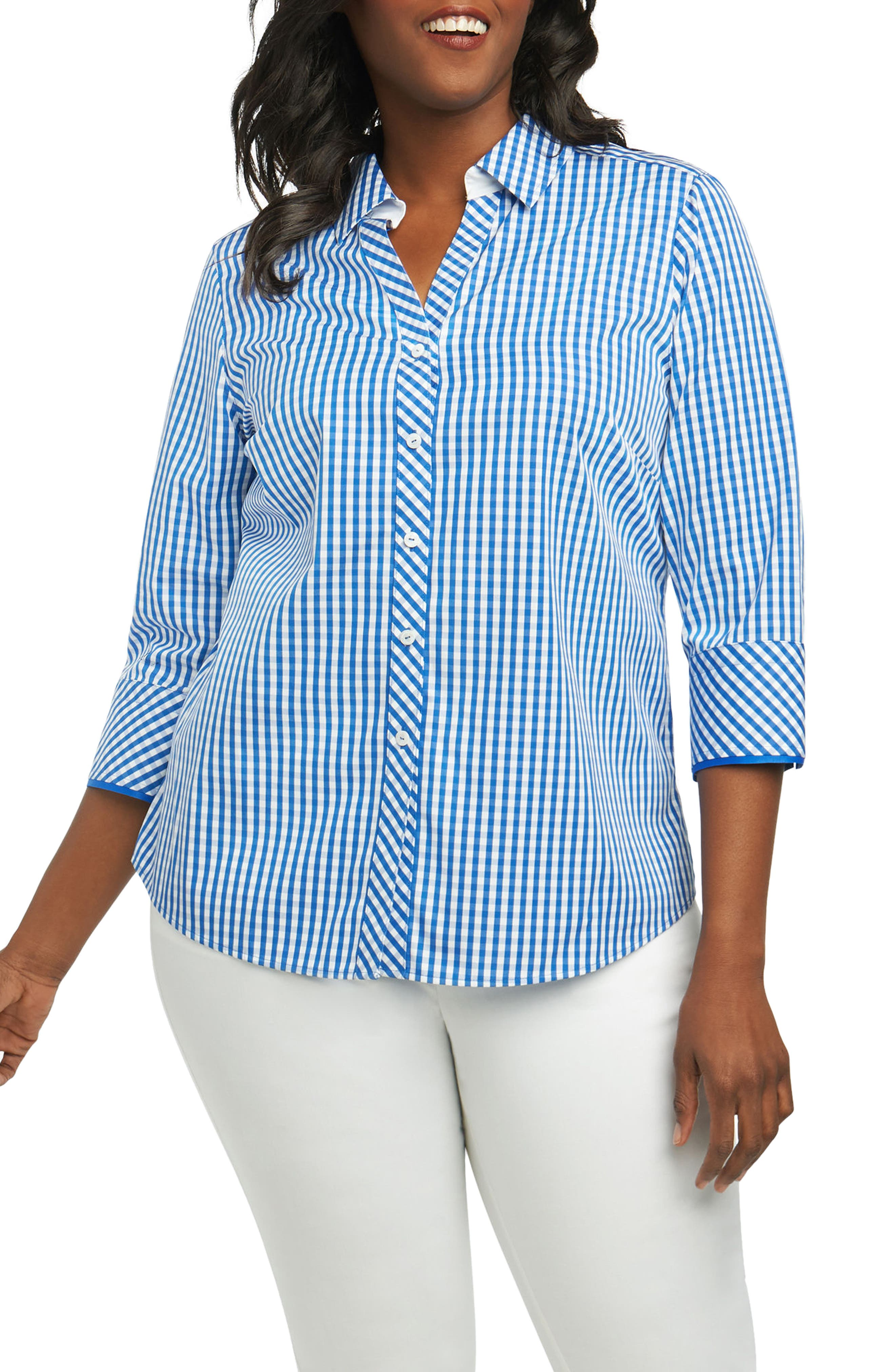 Mary Gingham Wrinkle Free Shirt,                         Main,                         color, Lapis Blue