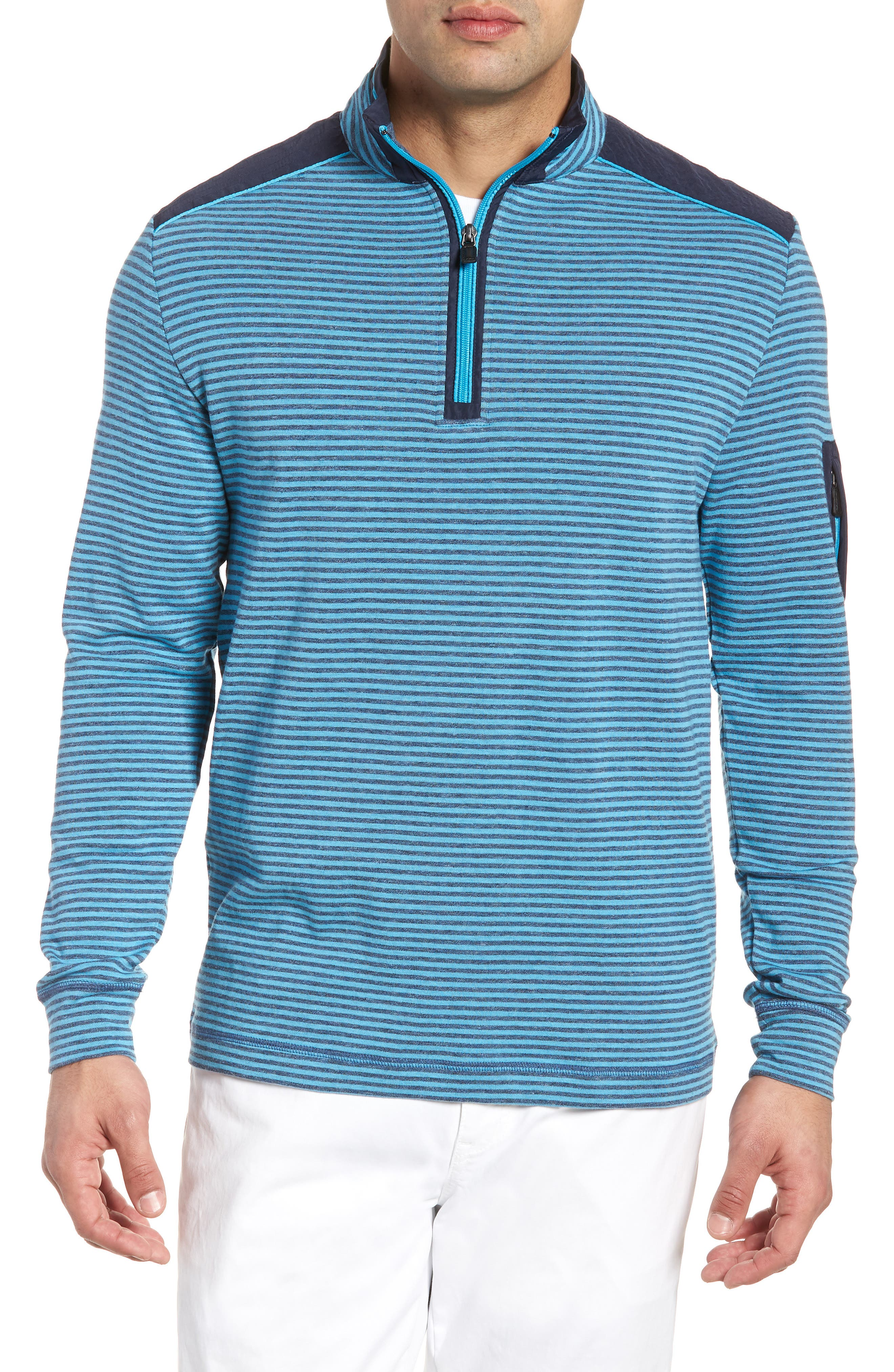 Regular Fit Stripe Quarter Zip Pullover,                         Main,                         color, Sky