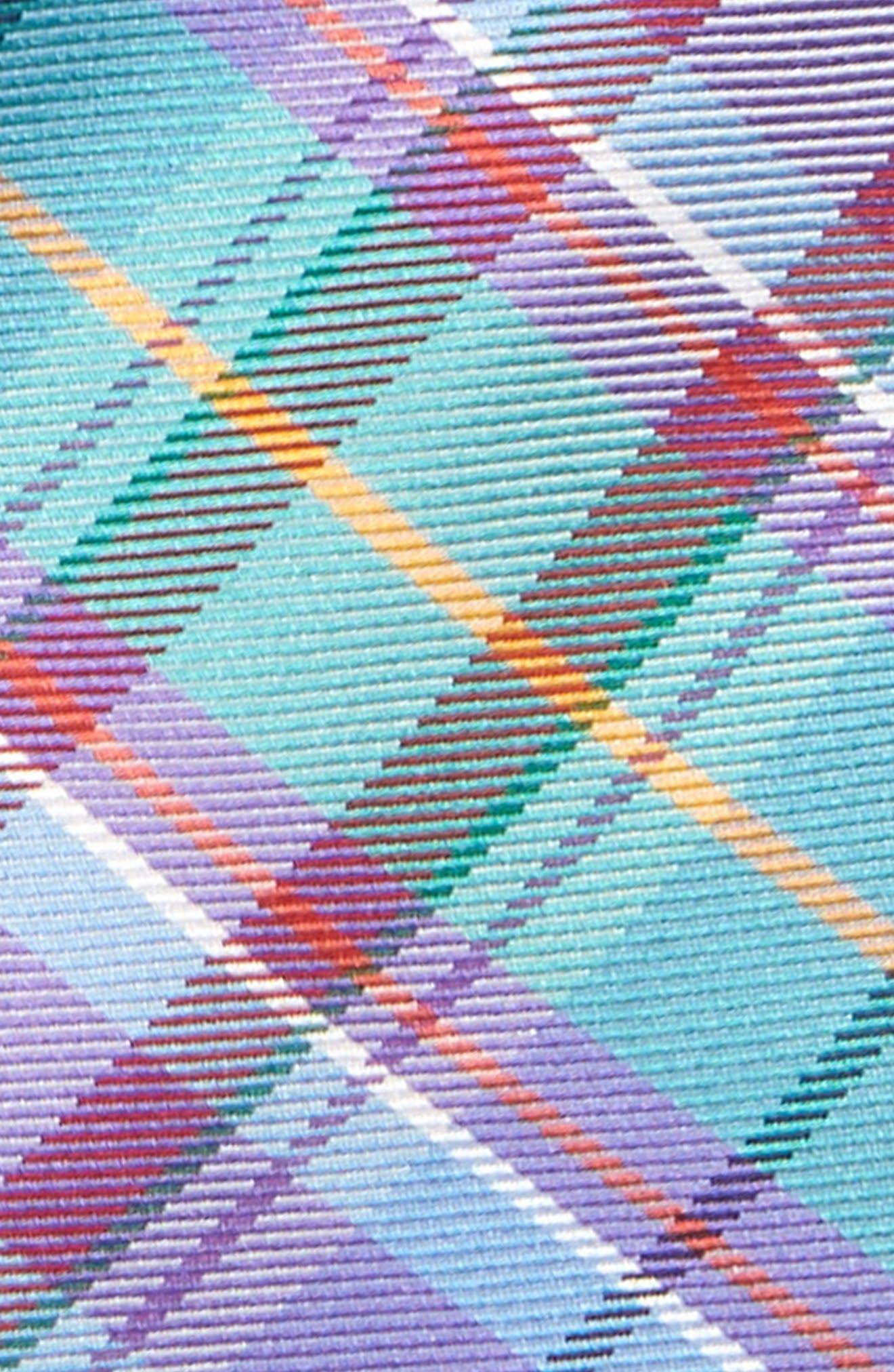 Tartan Plaid Silk Tie,                             Alternate thumbnail 2, color,                             Aqua