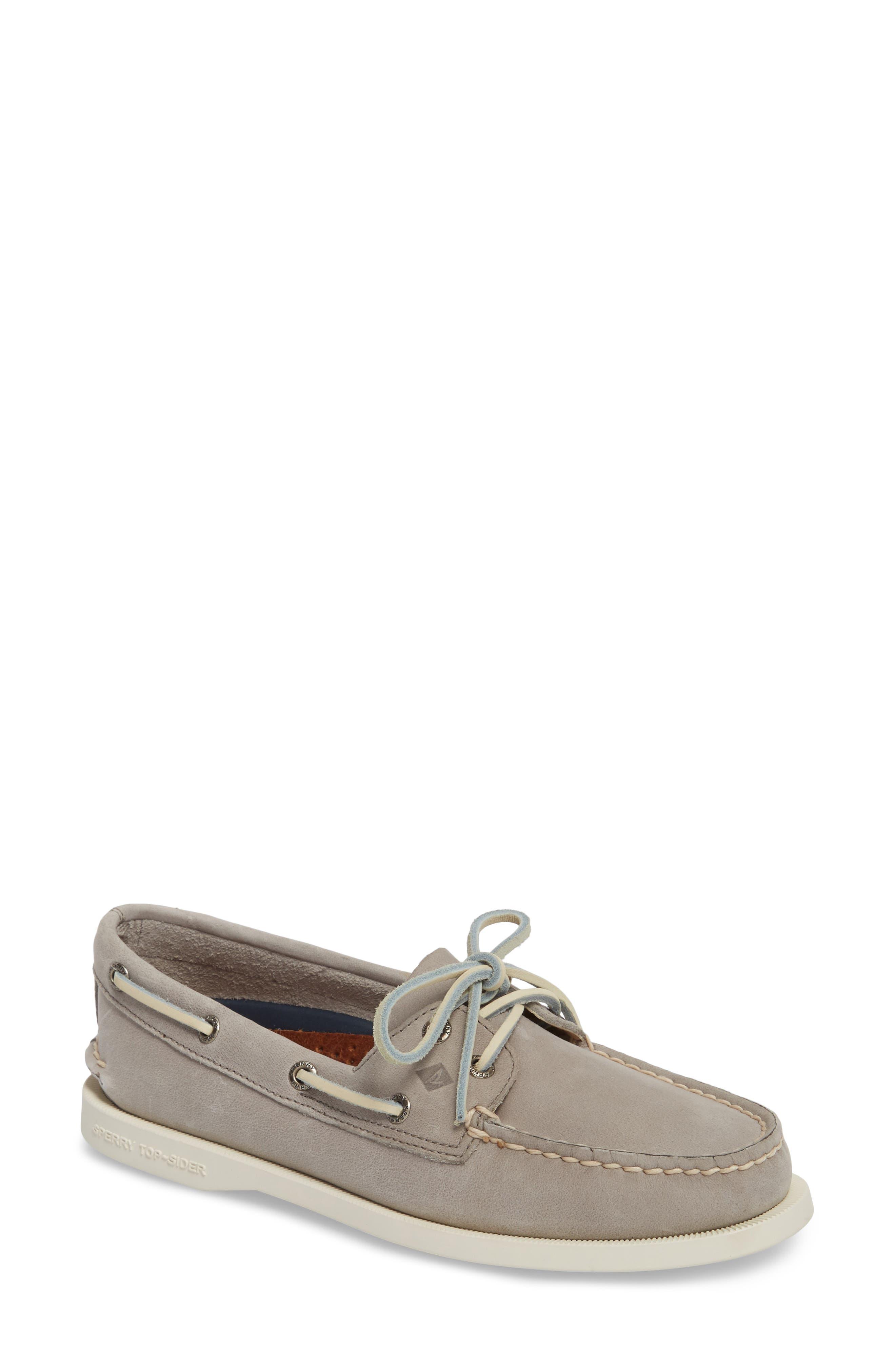 'Authentic Original' Boat Shoe,                             Main thumbnail 1, color,                             Grey Leather