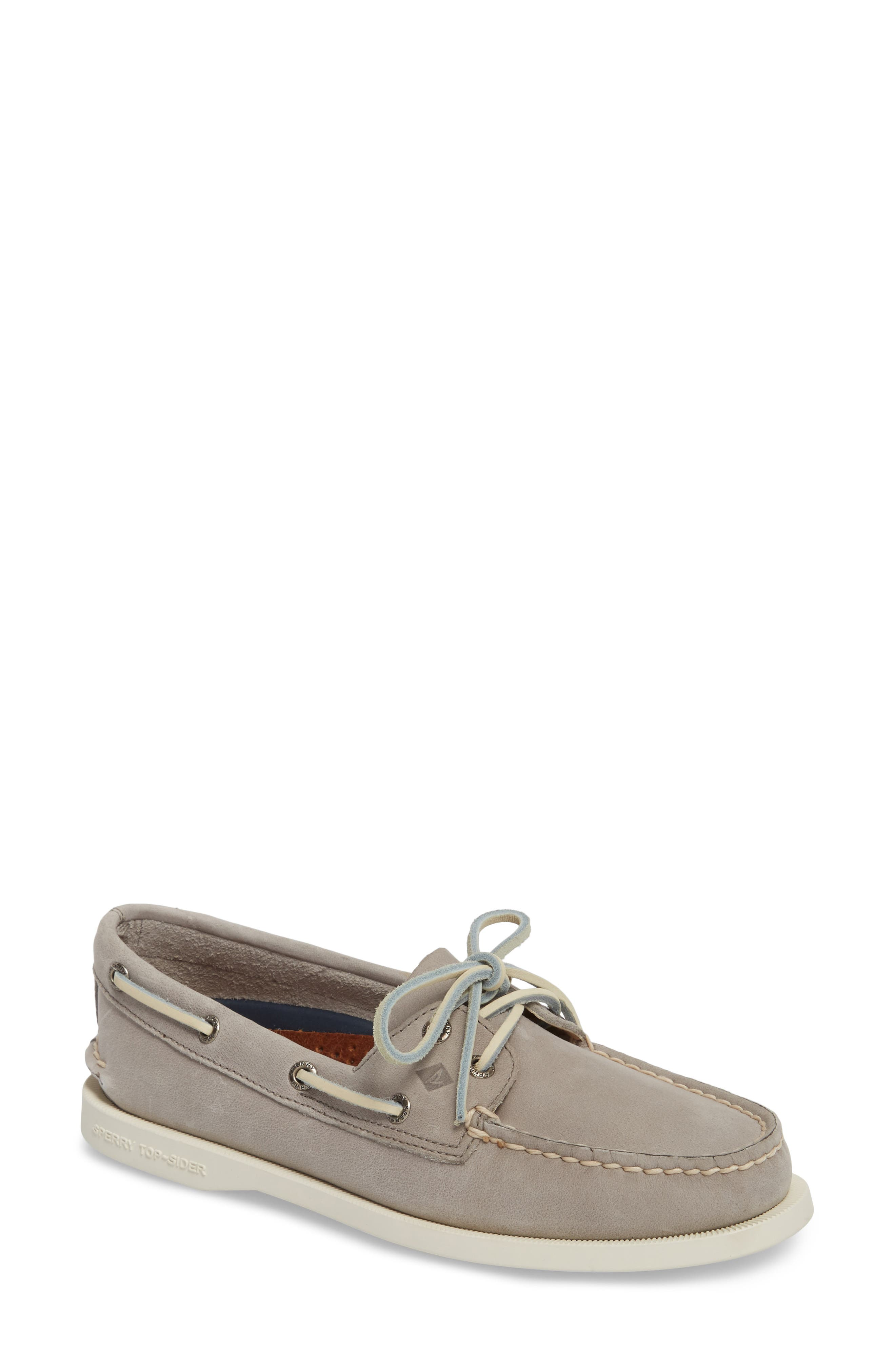 'Authentic Original' Boat Shoe,                         Main,                         color, Grey Leather