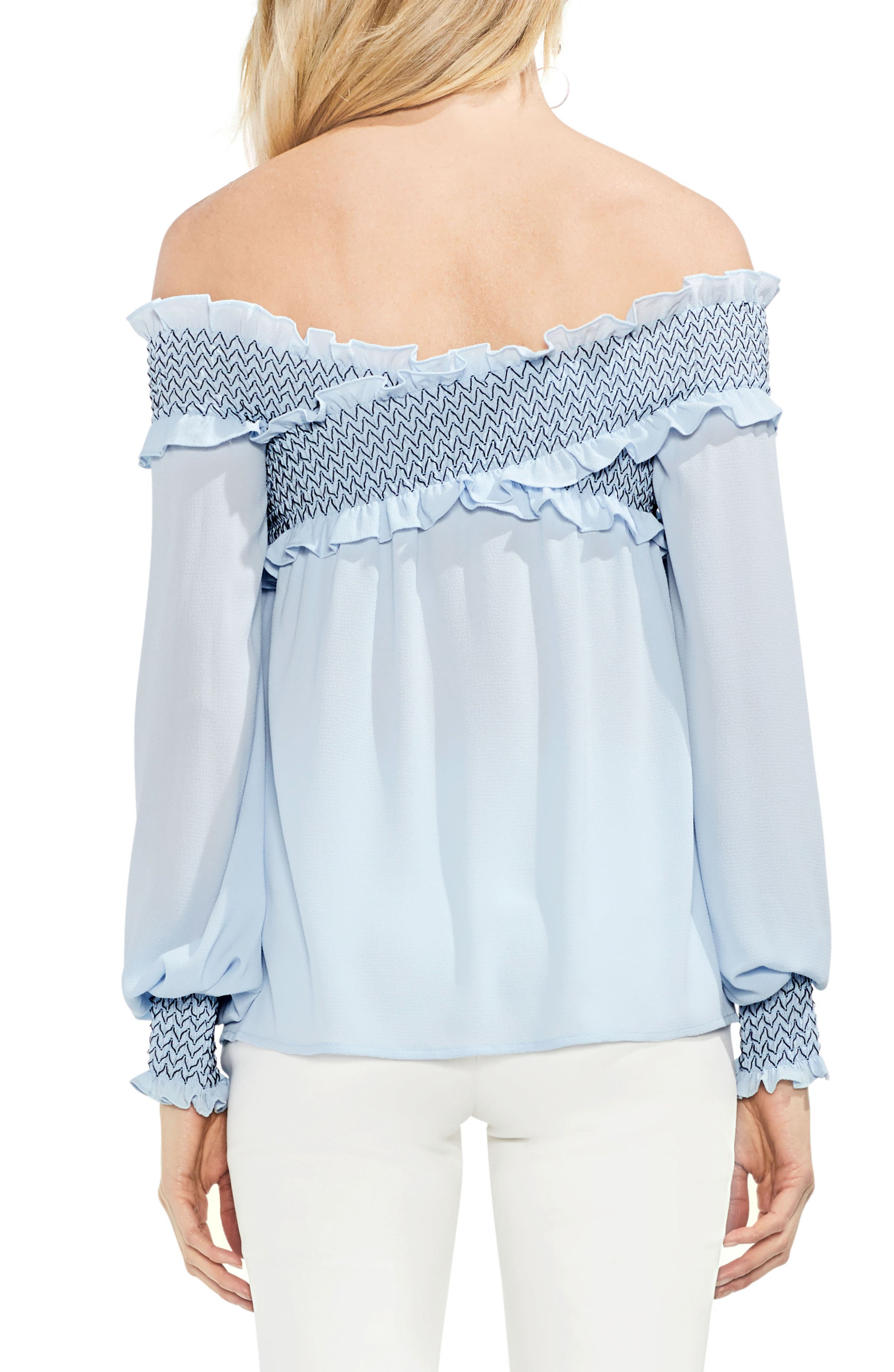 Smocked Cross Front Off the Shoulder Blouse,                             Alternate thumbnail 2, color,                             Dew Blue