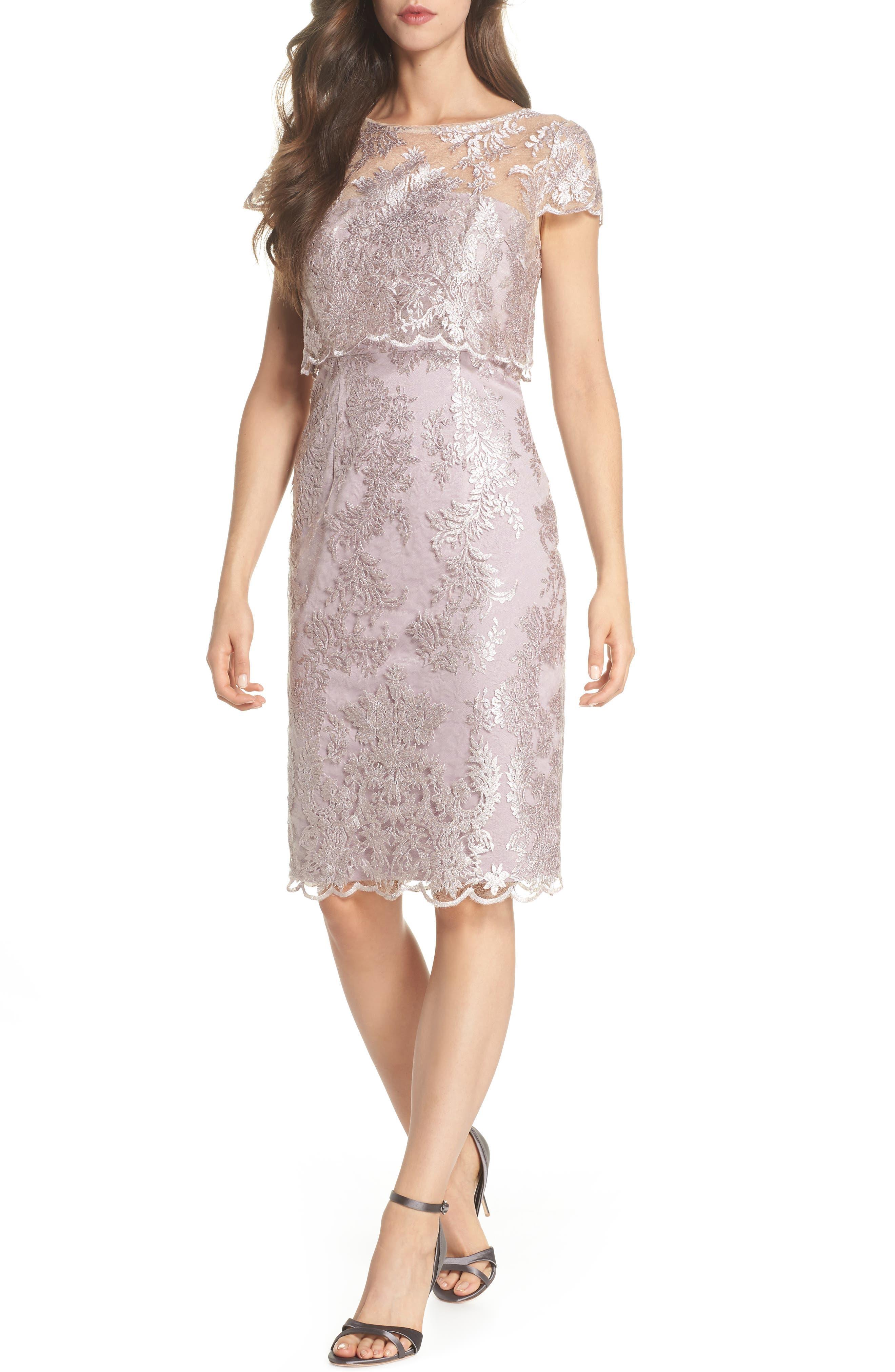 Main Image - Adrianna Papell Scallop Edge Popover Sheath Dress