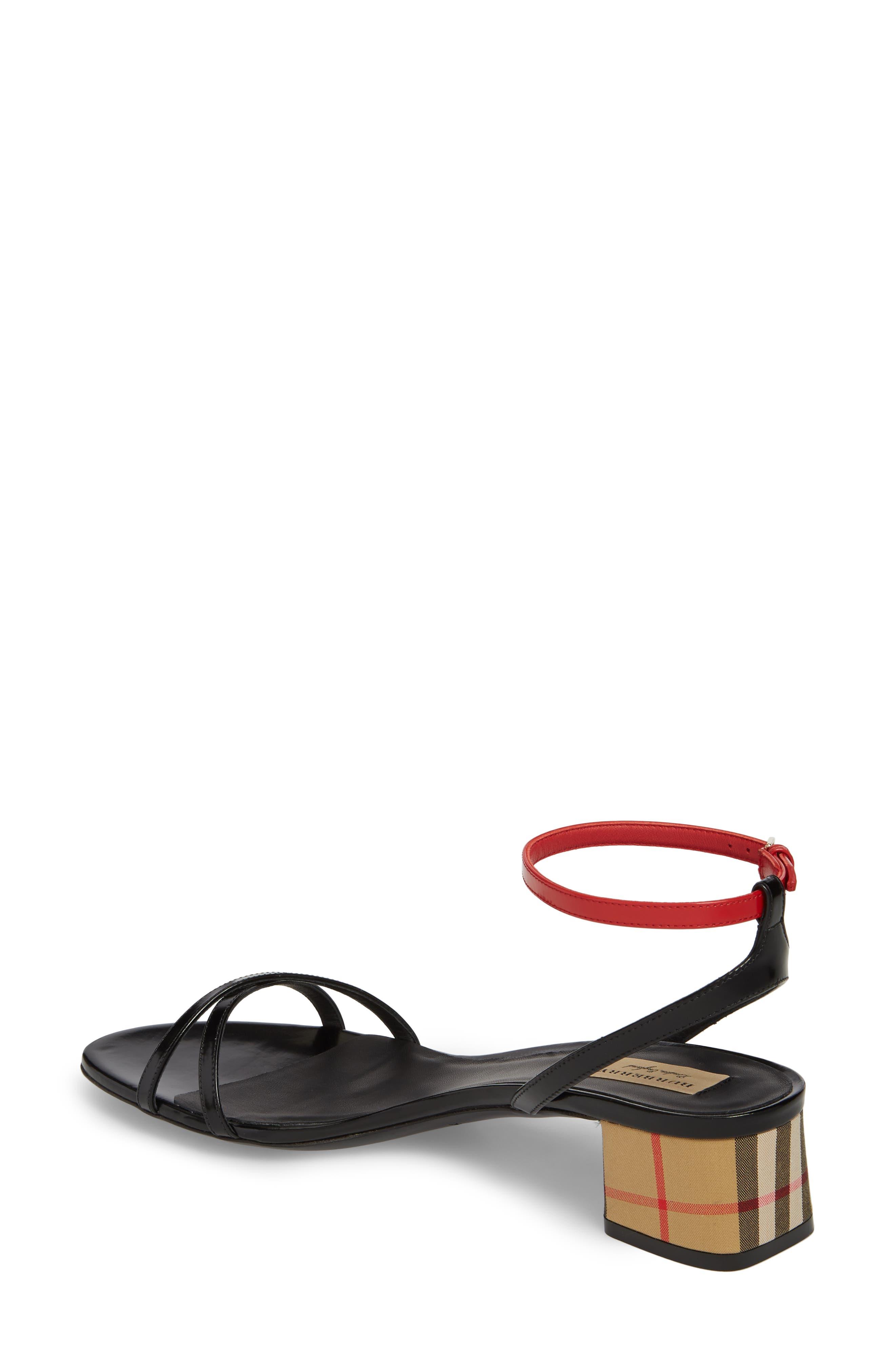 Anthea Check Ankle Strap Sandal,                             Alternate thumbnail 2, color,                             Black