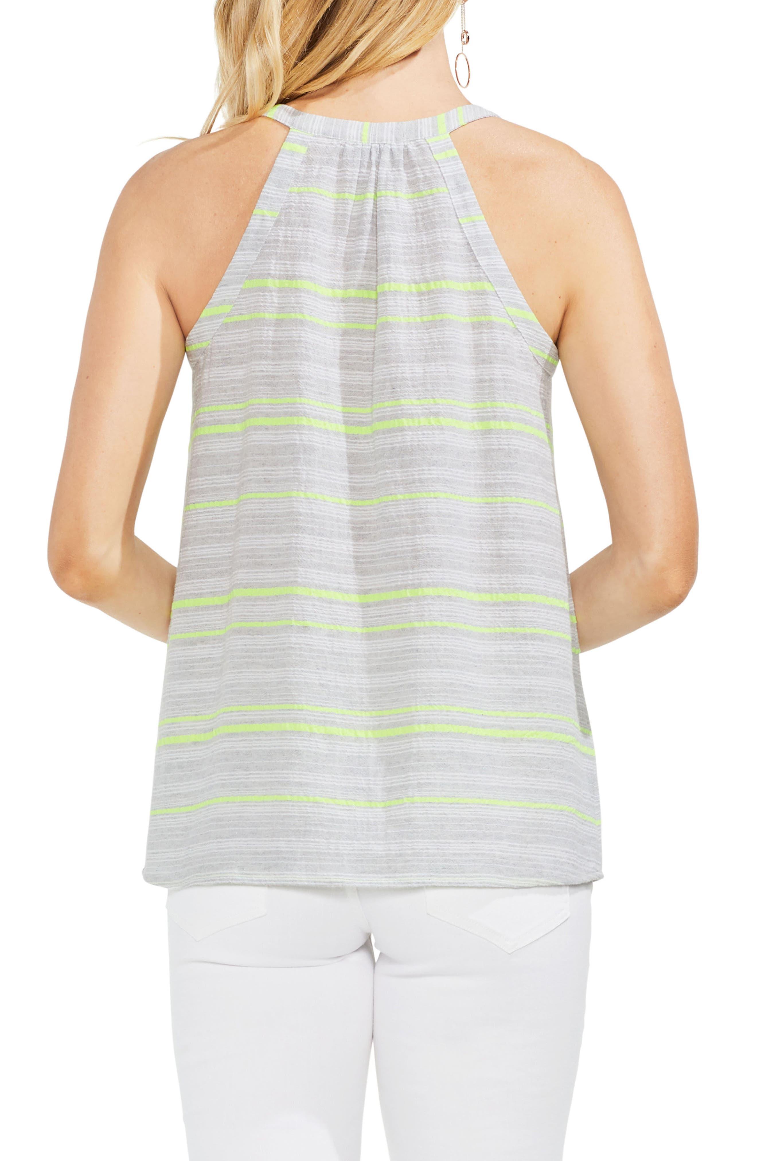 Cotton Blend Gauze Halter Top,                             Alternate thumbnail 2, color,                             Island Lime