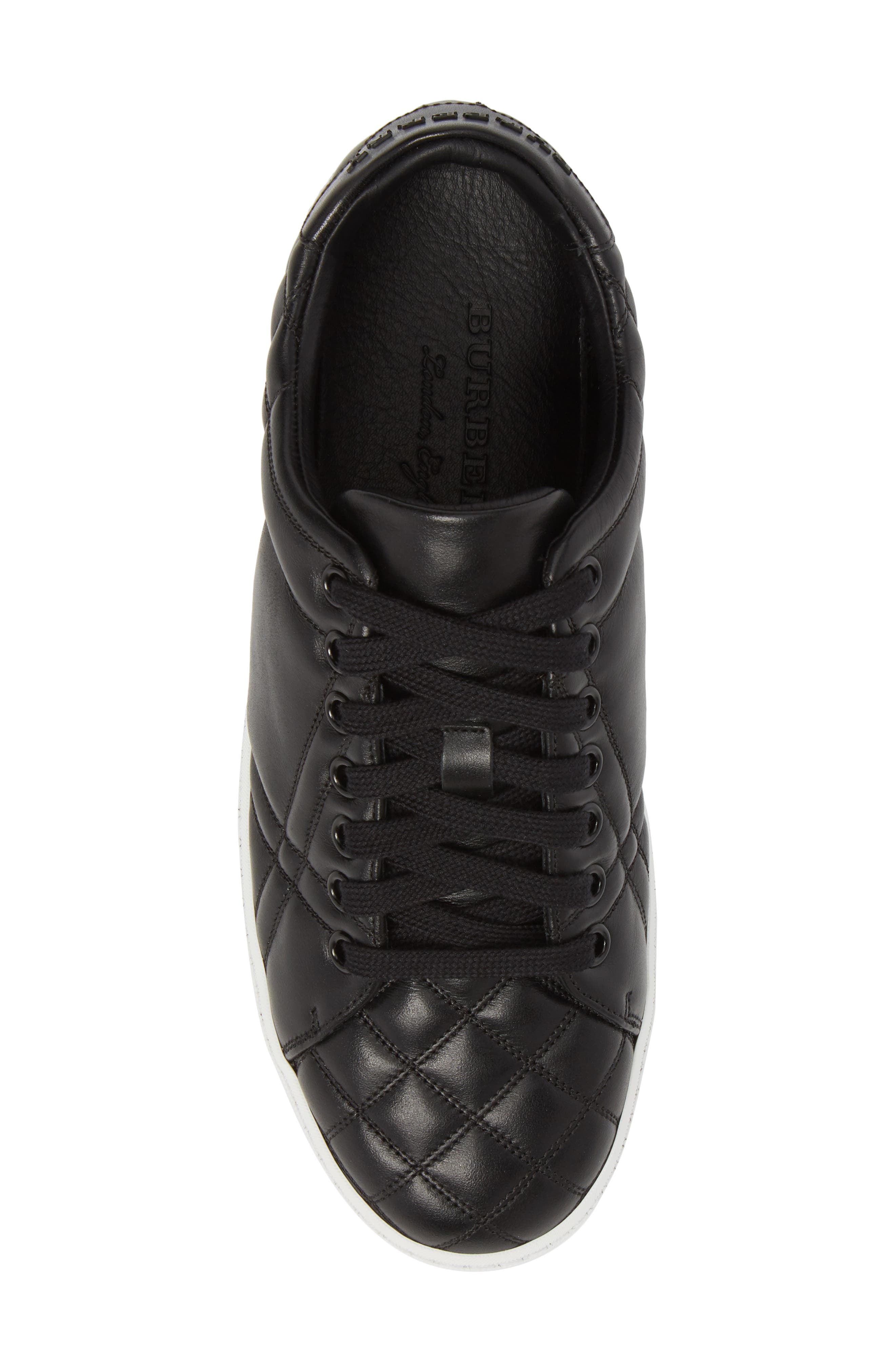 Check Quilted Leather Sneaker,                             Alternate thumbnail 5, color,                             Black Leather