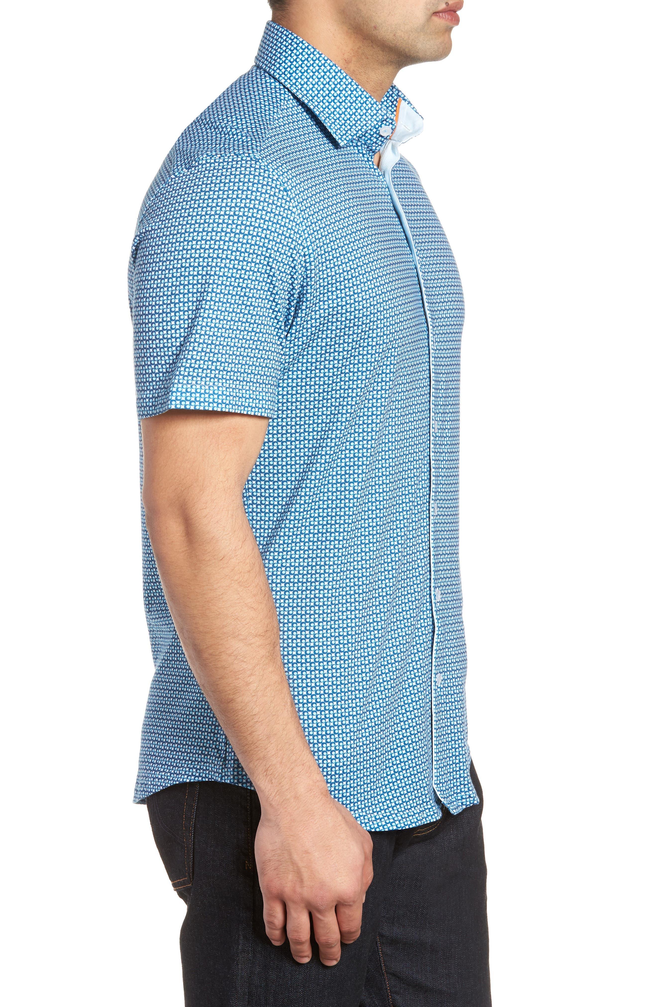Trim Fit Circle Geo Print Sport Shirt,                             Alternate thumbnail 4, color,                             Navy
