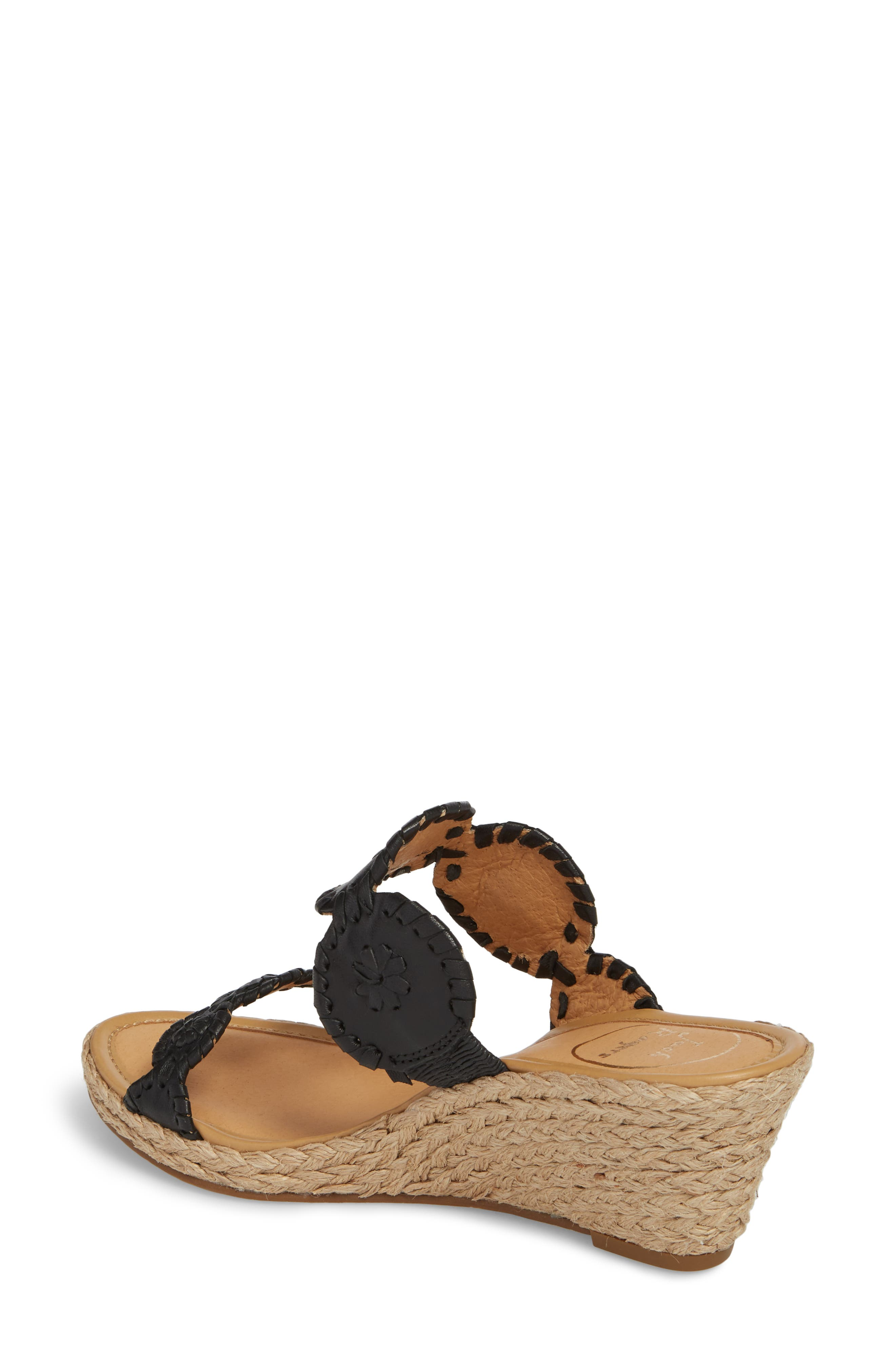 'Shelby' Whipstitched Wedge Sandal,                             Alternate thumbnail 2, color,                             Black Leather