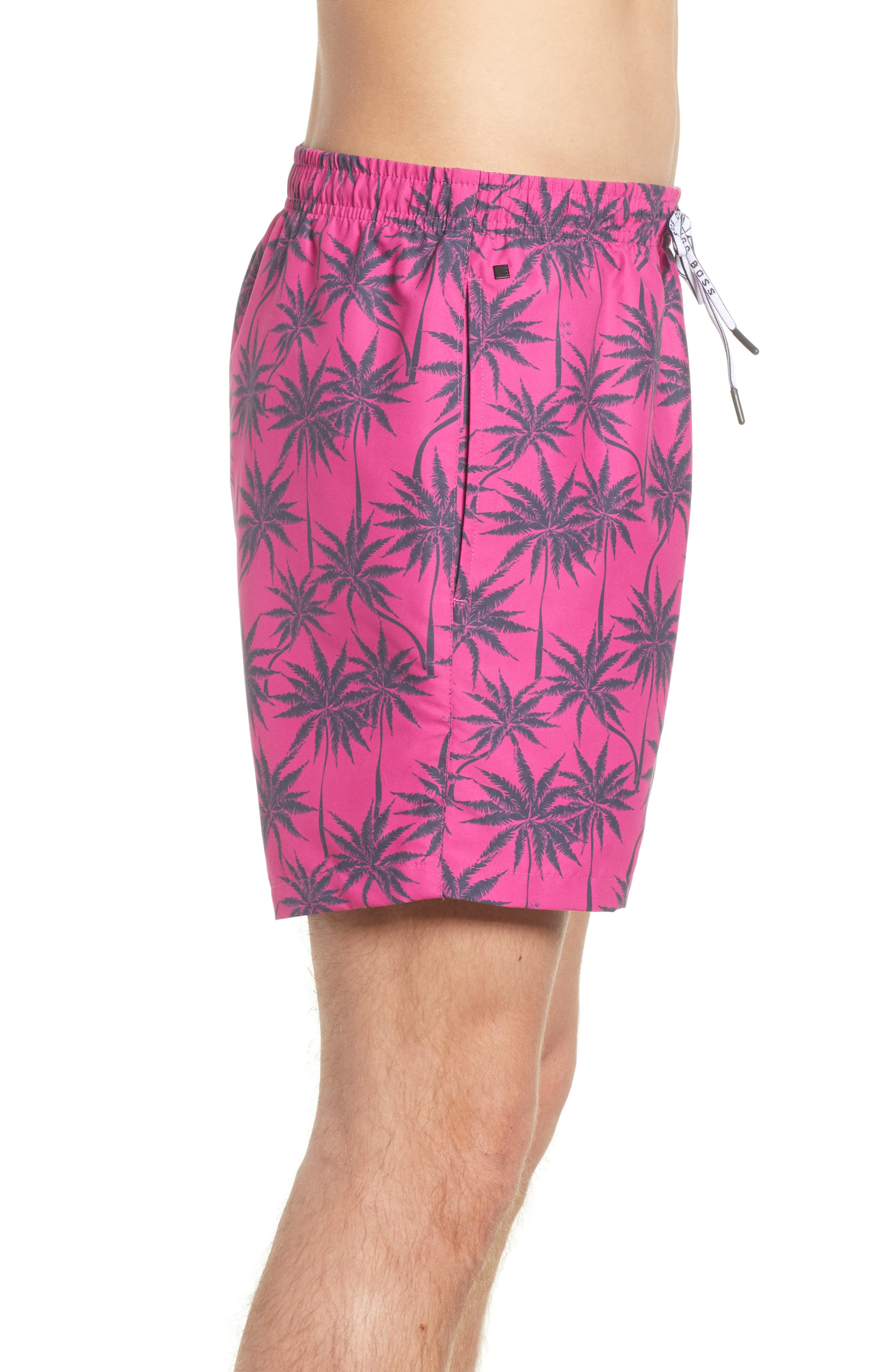 Piranha Palm Tree Swim Trunks,                             Alternate thumbnail 3, color,                             Pink