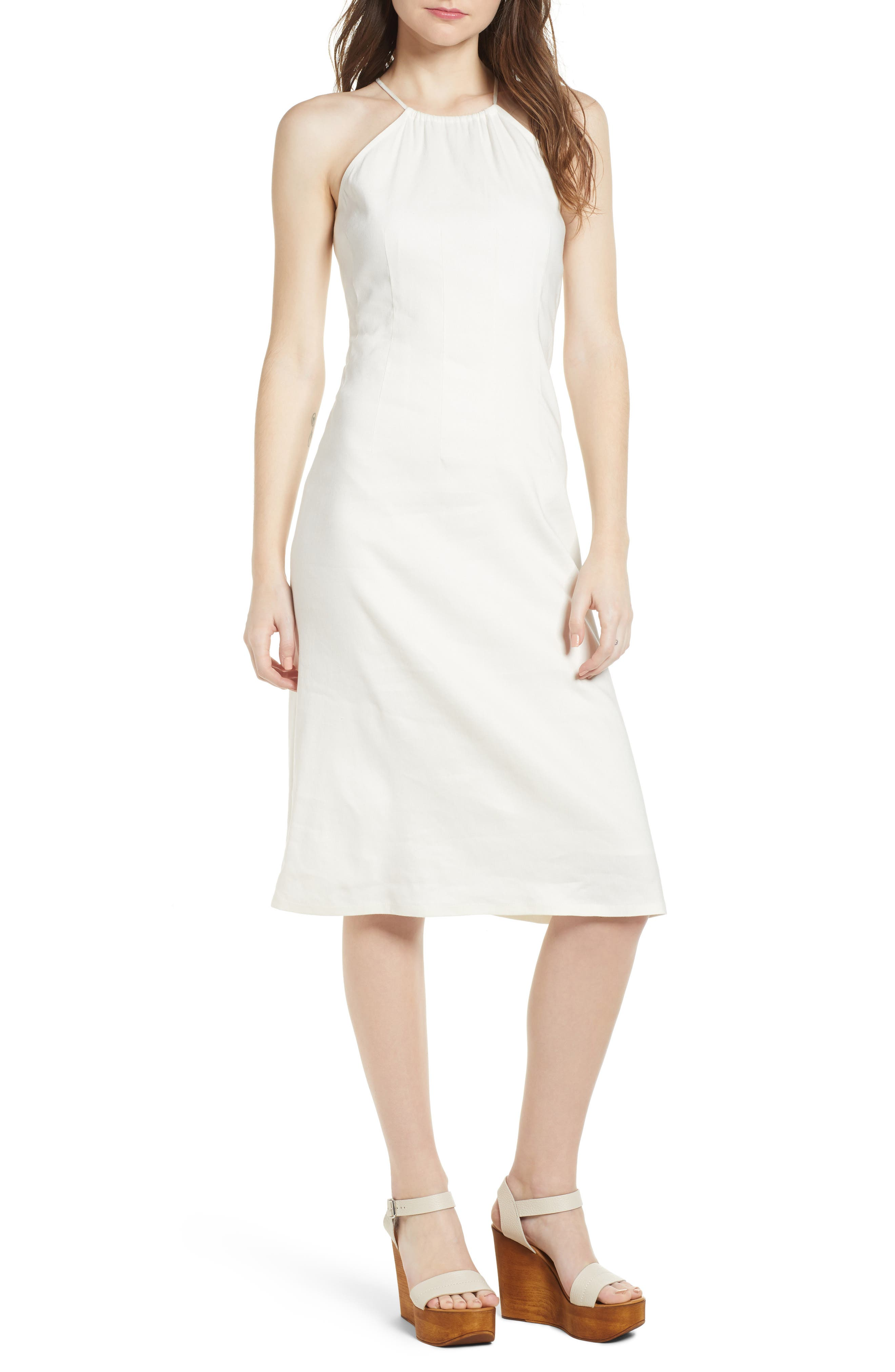 Halter Midi Dress,                             Main thumbnail 1, color,                             Ivory