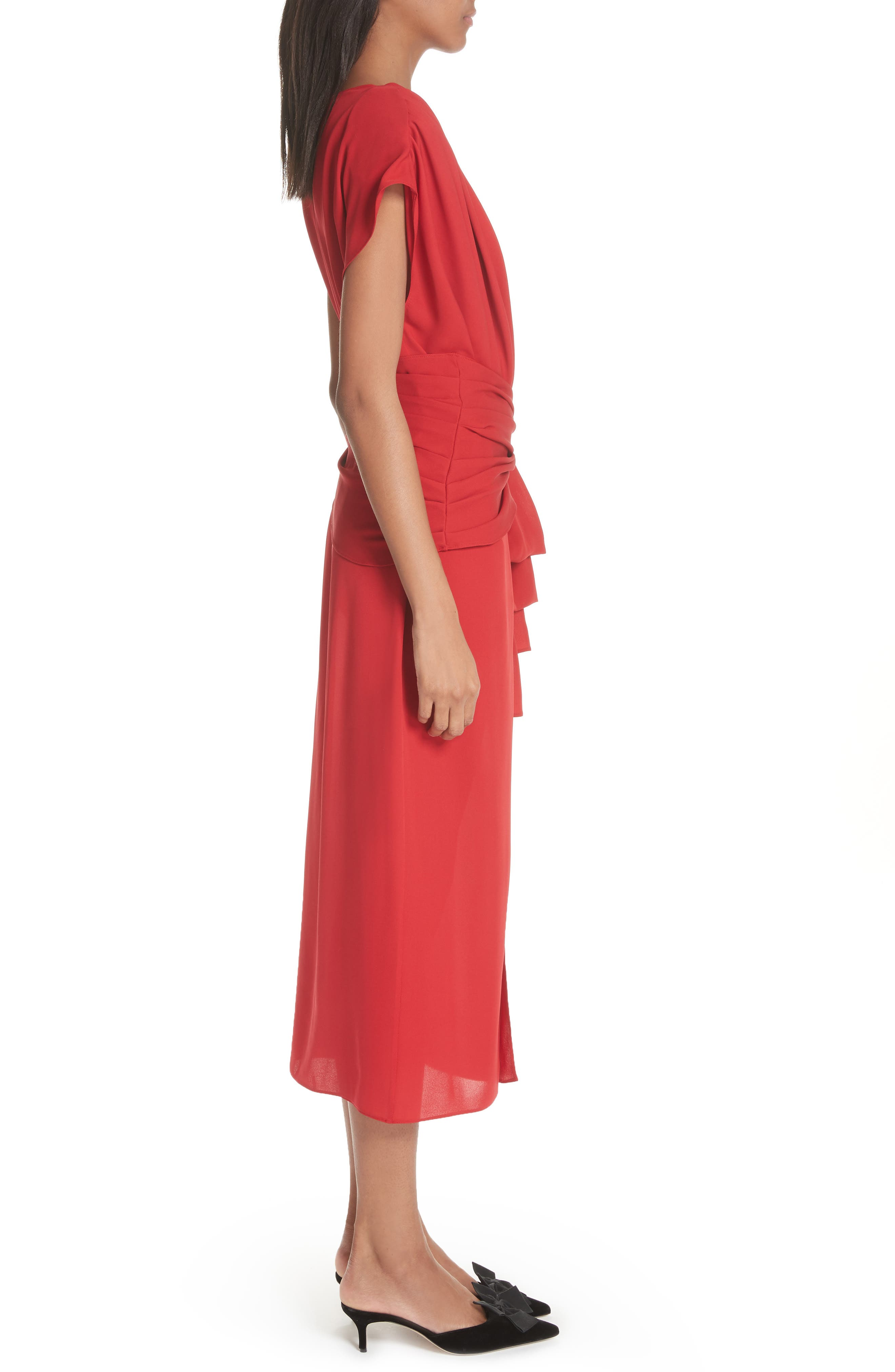 Tie Waist Silk Dress,                             Alternate thumbnail 3, color,                             Red