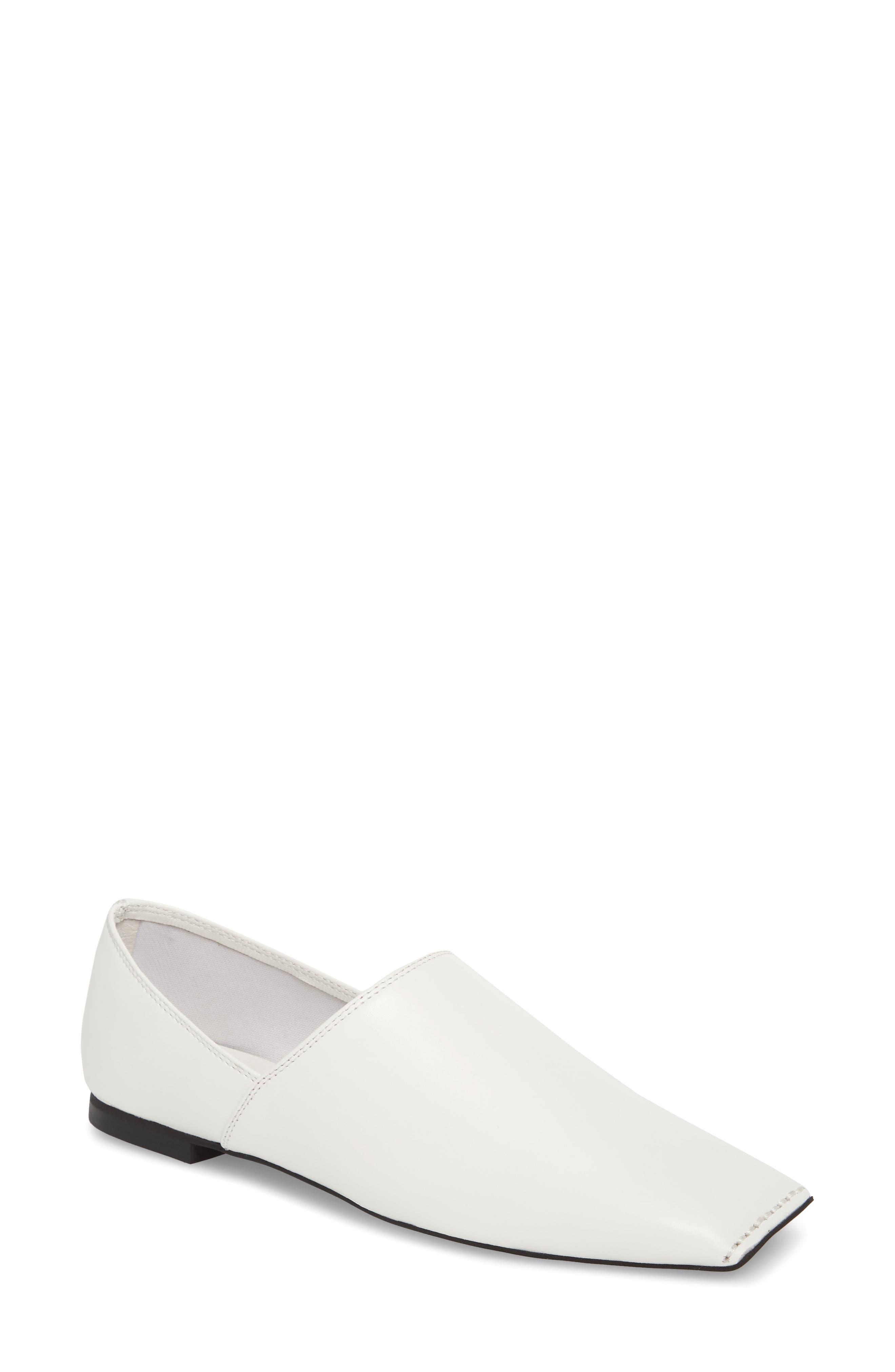 Lanvale Blunted Toe Flat,                             Main thumbnail 1, color,                             White