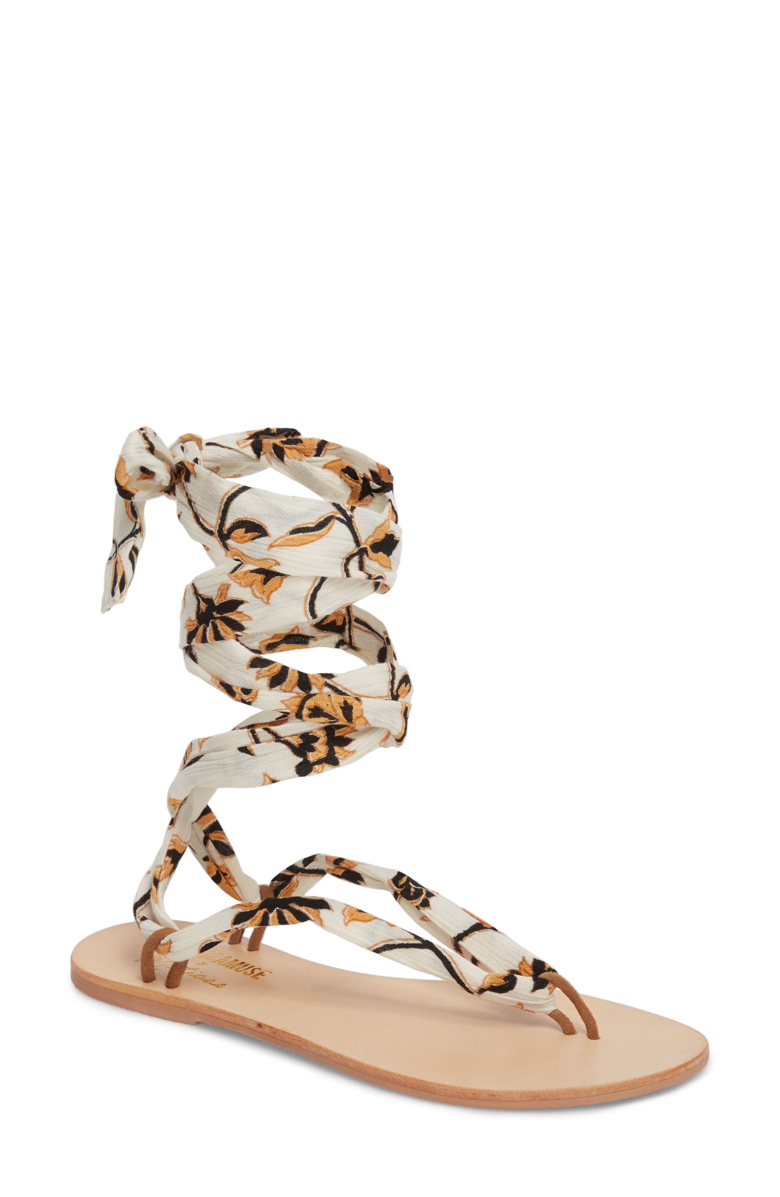 Amuse Society x Matisse Oceano Lace-Up Sandal,                         Main,                         color, Natural Fabric