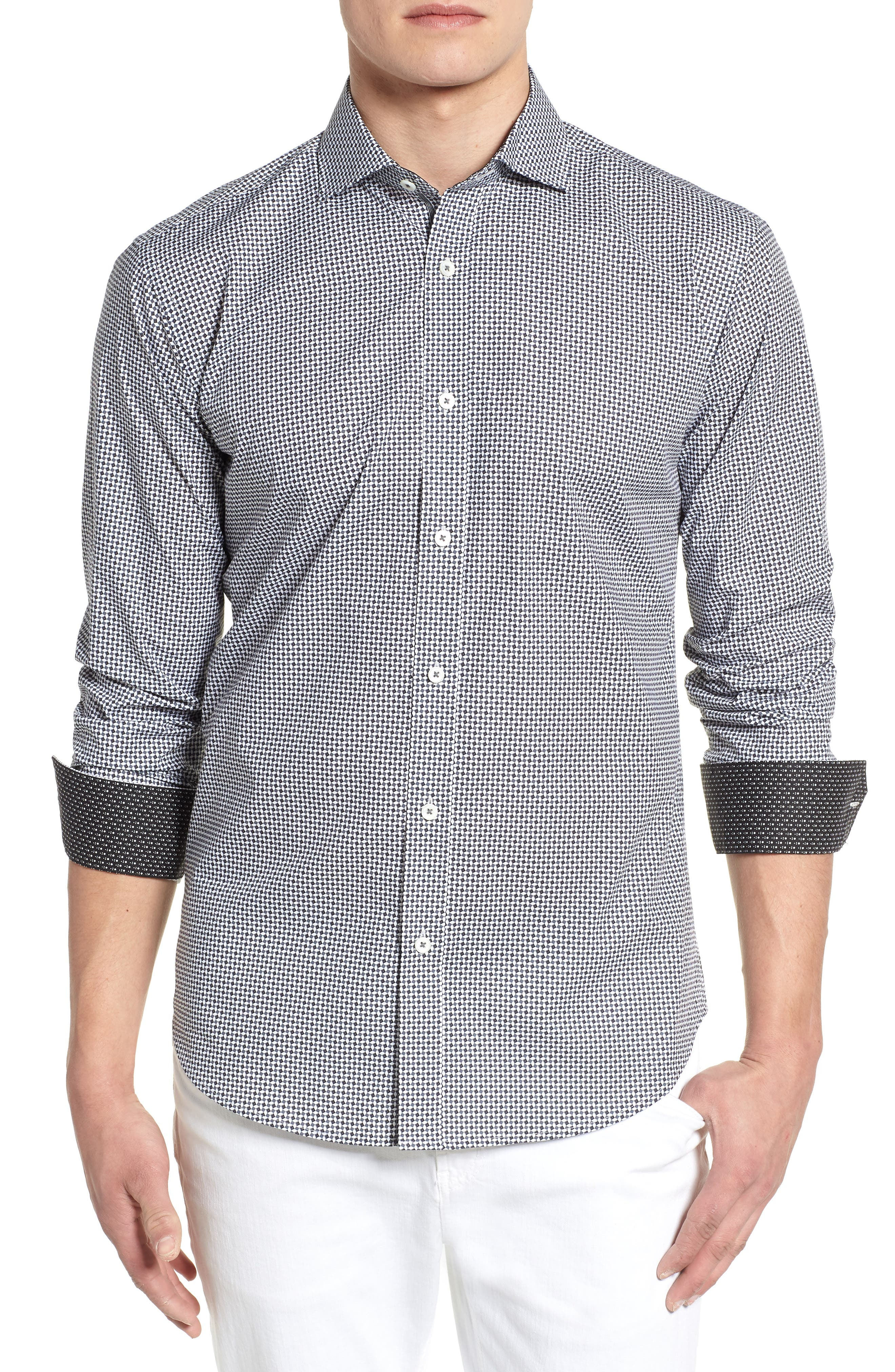 Shaped Fit Diamond Print Sport Shirt,                         Main,                         color, Charcoal