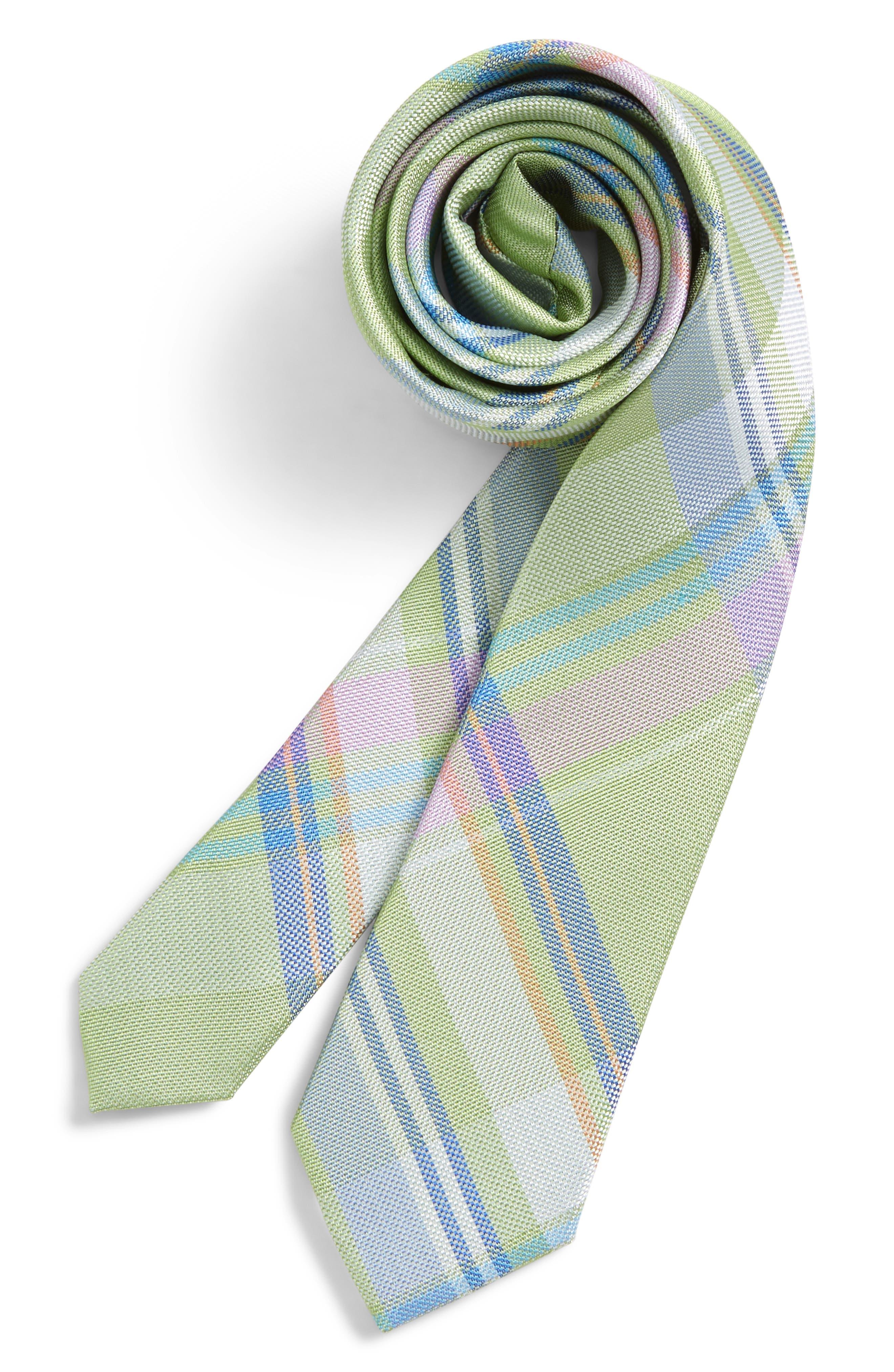 Primavera Plaid Silk Tie,                         Main,                         color, Green