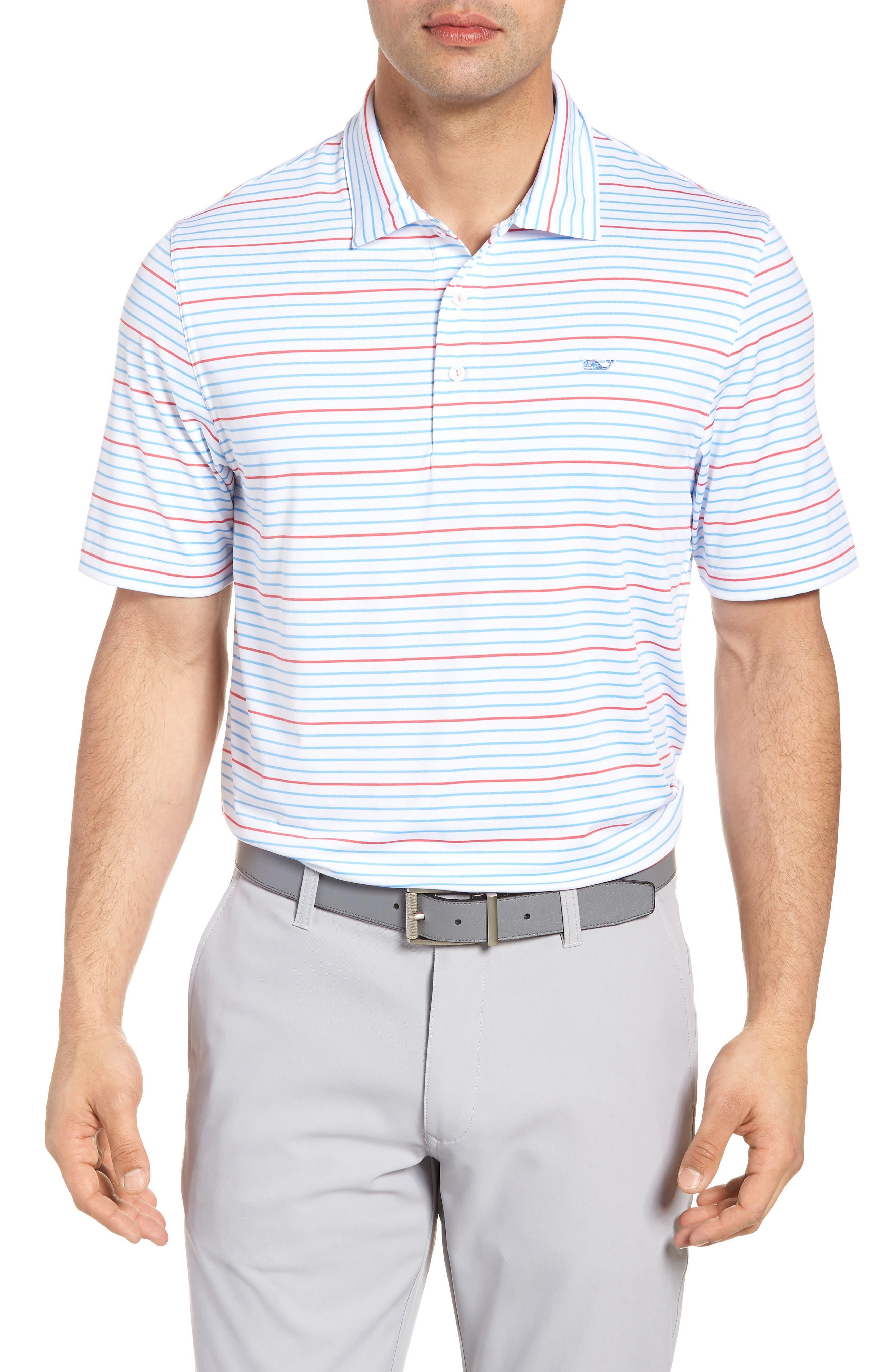 Swindell Stretch Stripe Polo,                             Main thumbnail 1, color,                             White Cap