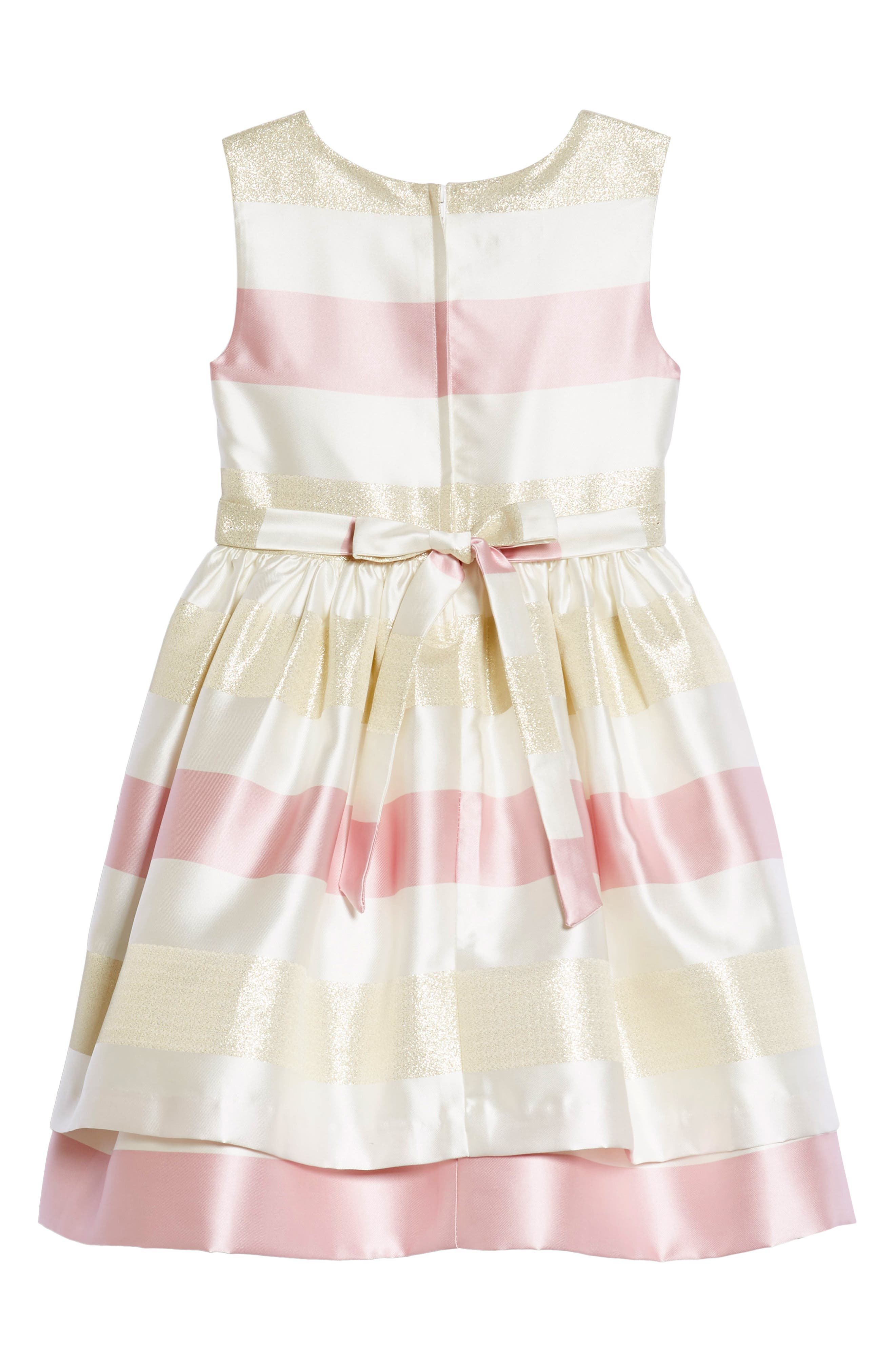 Metallic Stripe Fit & Flare Dress,                             Alternate thumbnail 2, color,                             Pink/ Ivory