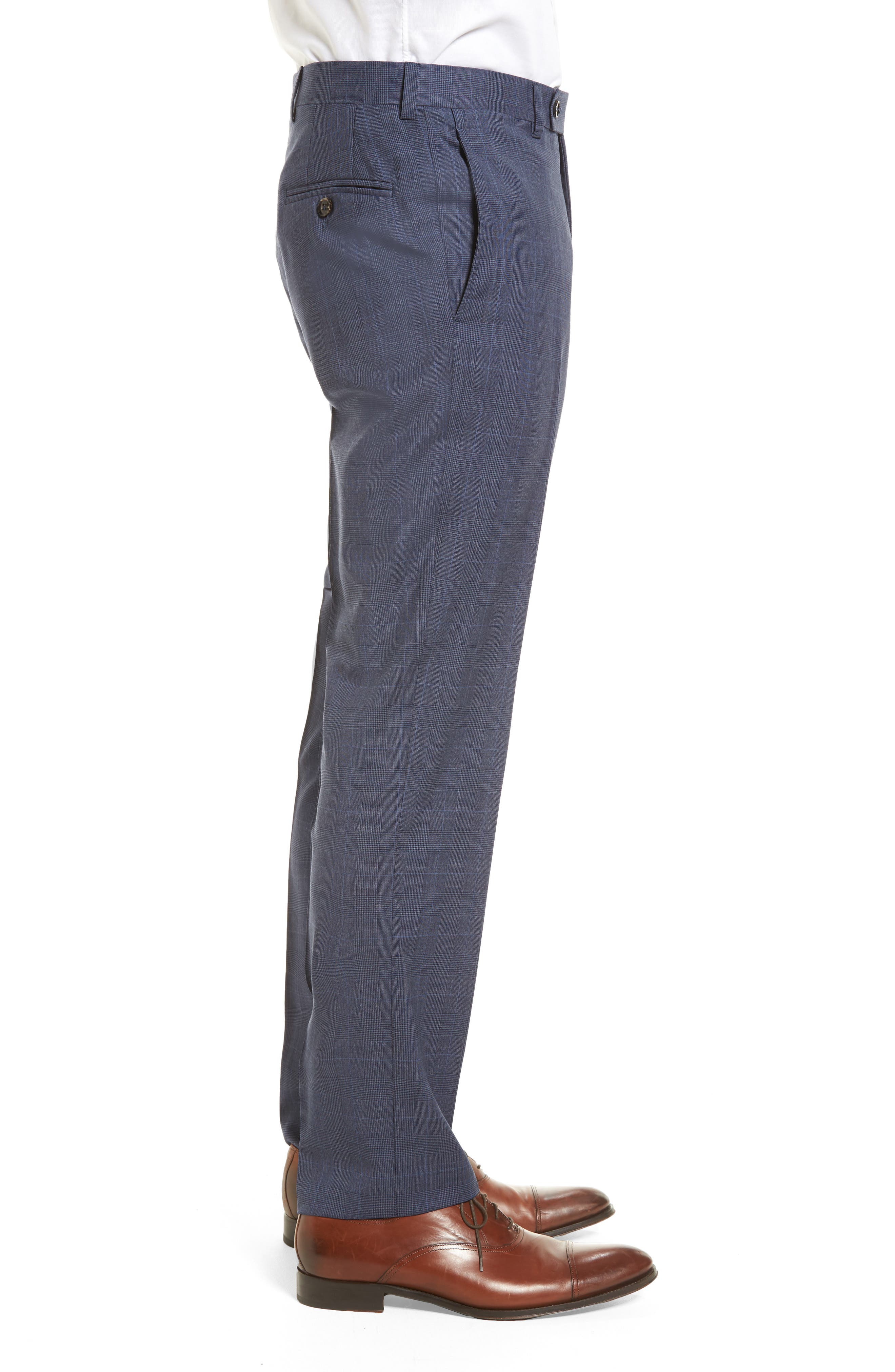 Jefferson Flat Front Wool Trousers,                             Alternate thumbnail 3, color,                             Blue
